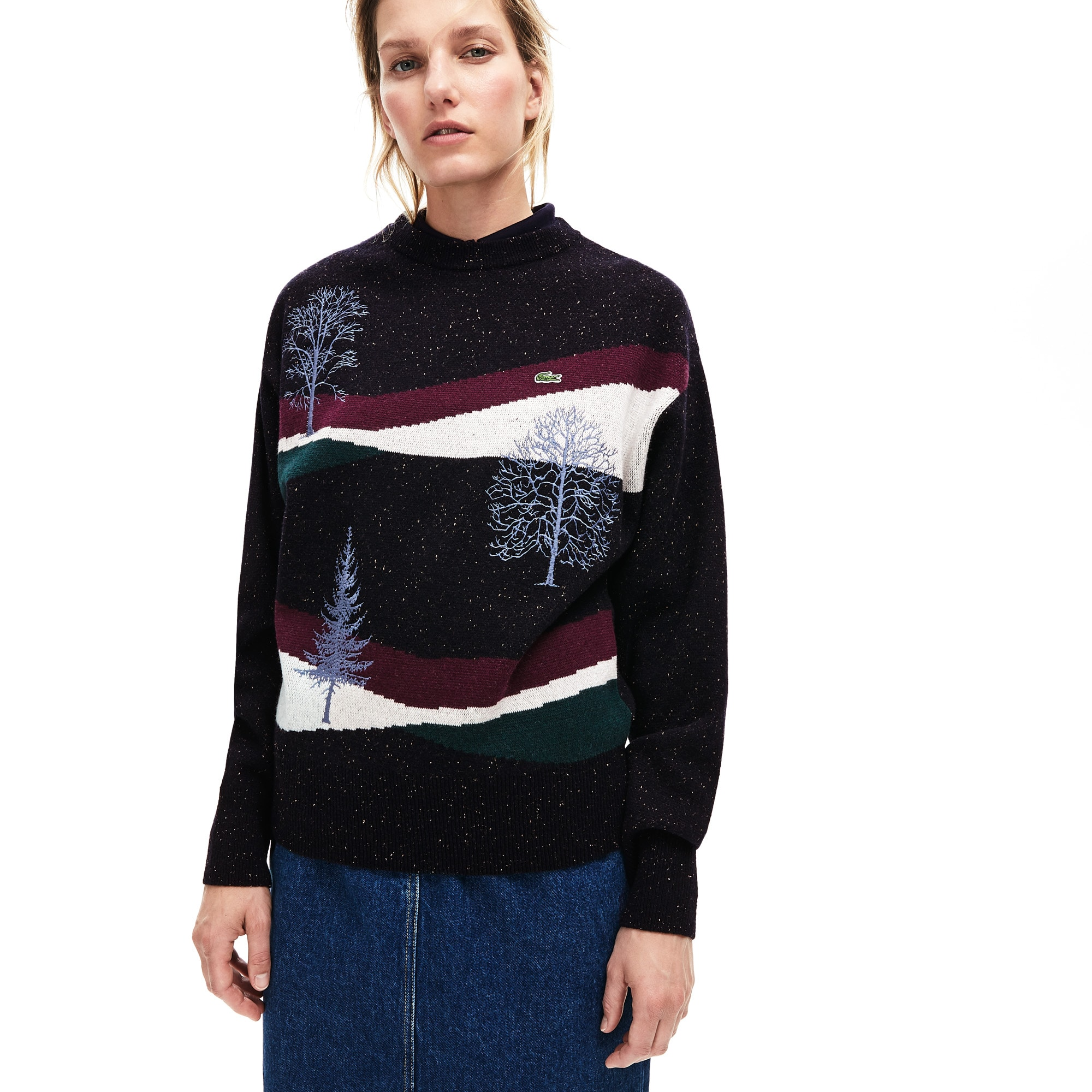 Lacoste Lingerie Women's Winter Design Cotton And Wool Blend Jacquard Sweater
