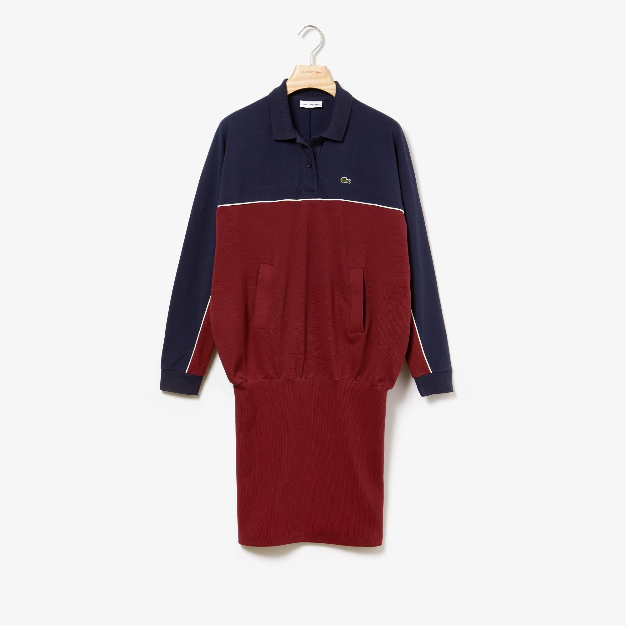 라코스테 코튼 폴로 원피스 Lacoste Womens Cotton Polo Dress,Navy Blue / Bordeaux / White