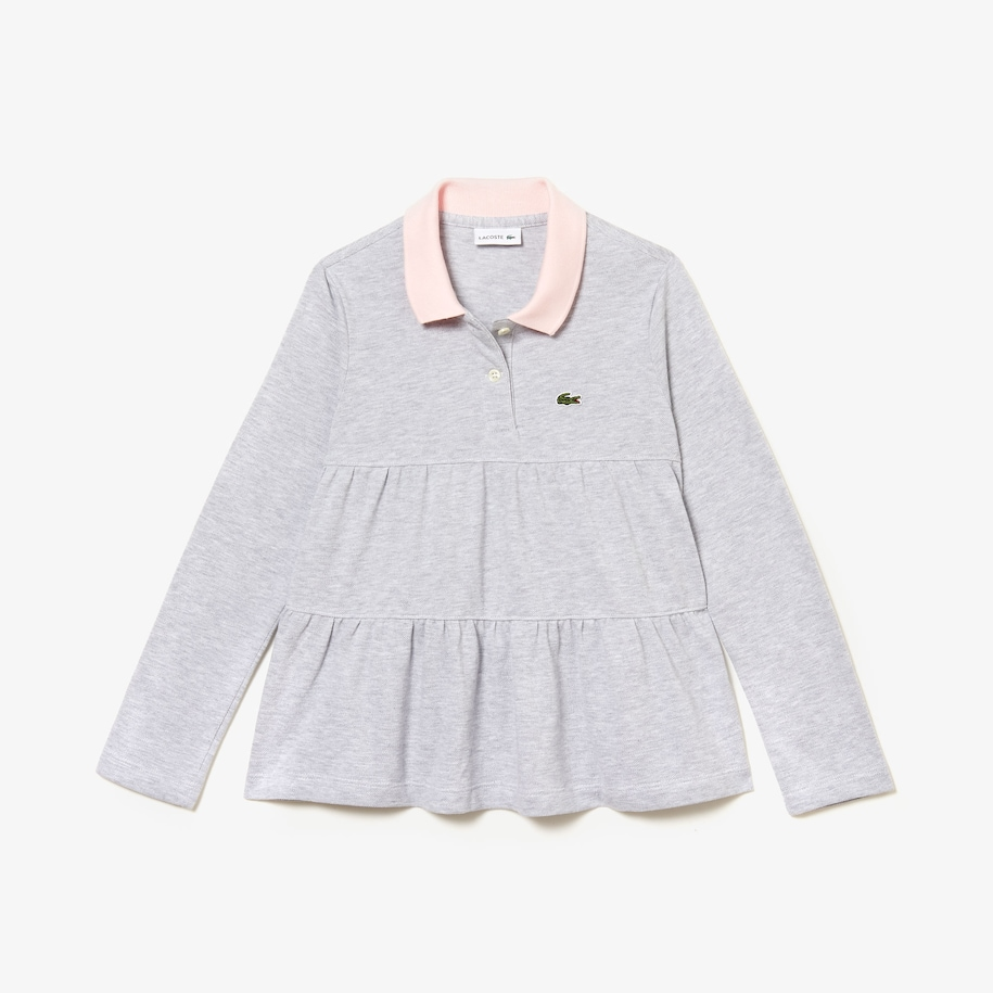 Girls' Flounced Cotton Piqué Polo Shirt