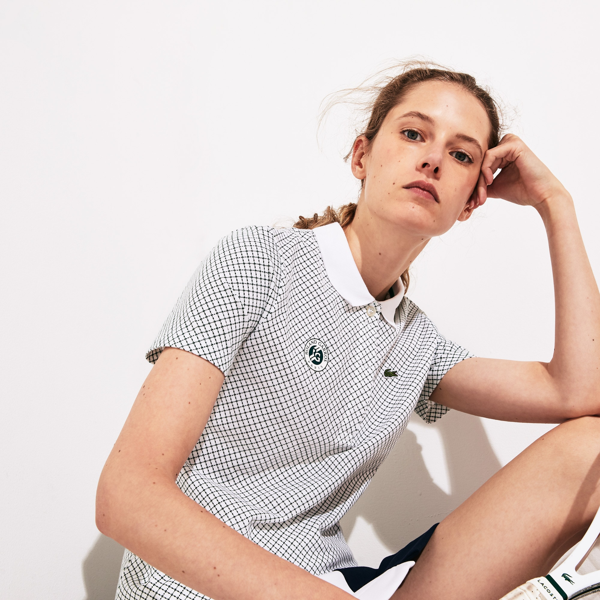 라코스테 스포츠 '롤랑가로스 에디션' 폴로셔츠 Lacoste Womens SPORT Roland Garros Printed Cotton Polo Shirt