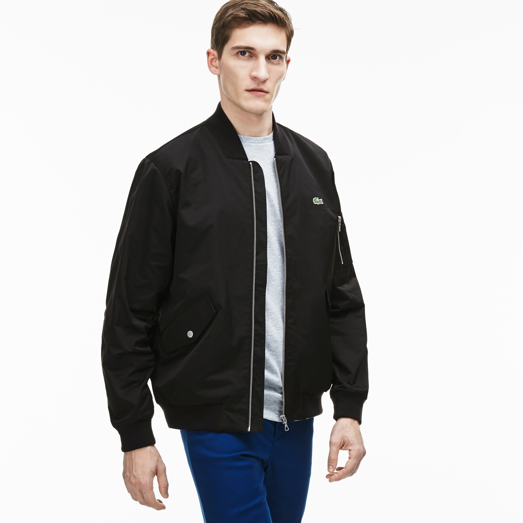Men's Textured Nylon Bomber Jacket | LACOSTE