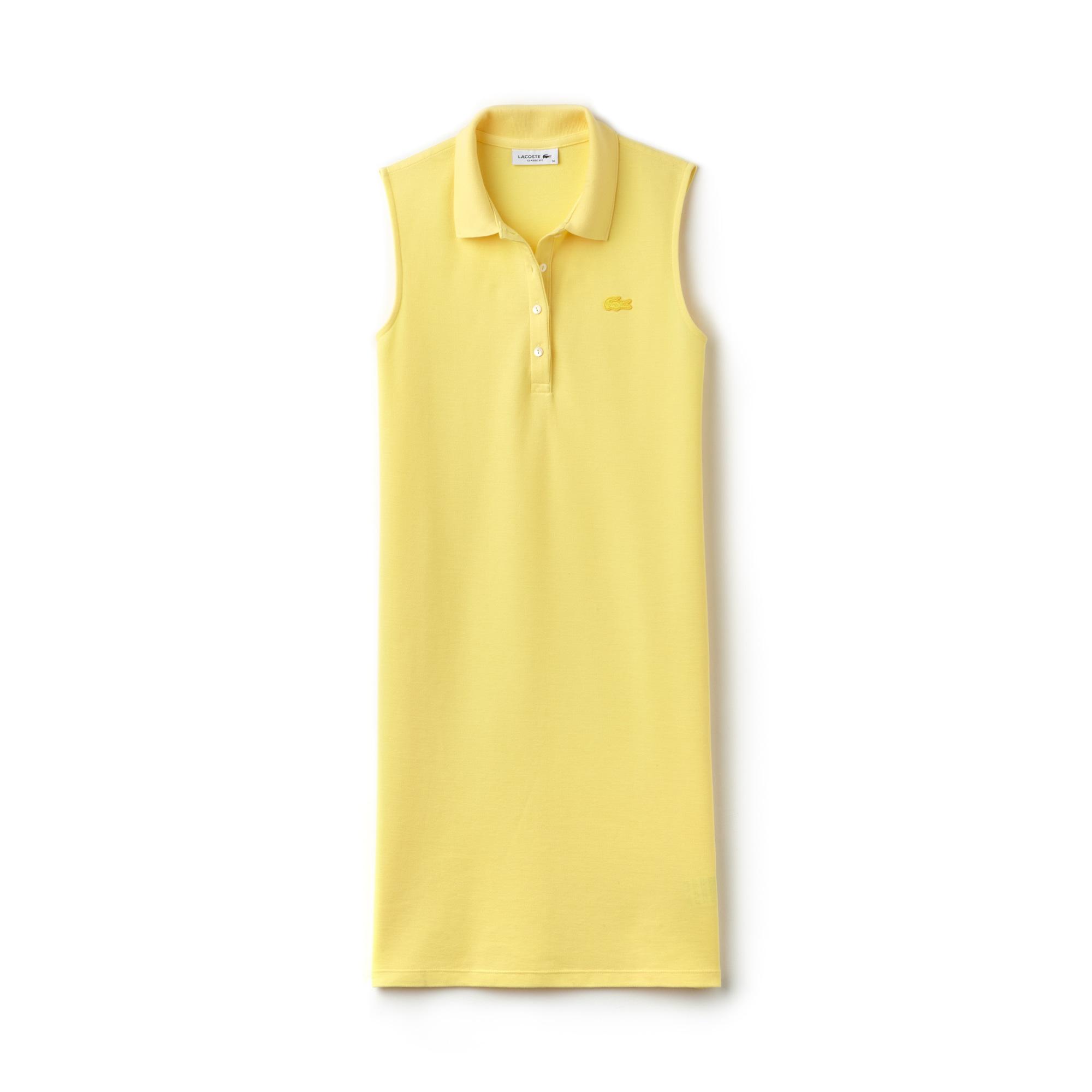 라코스테 마이크로 피케 원피스 옐로우 Lacoste Womens Micro Pique Polo Dress,yellow