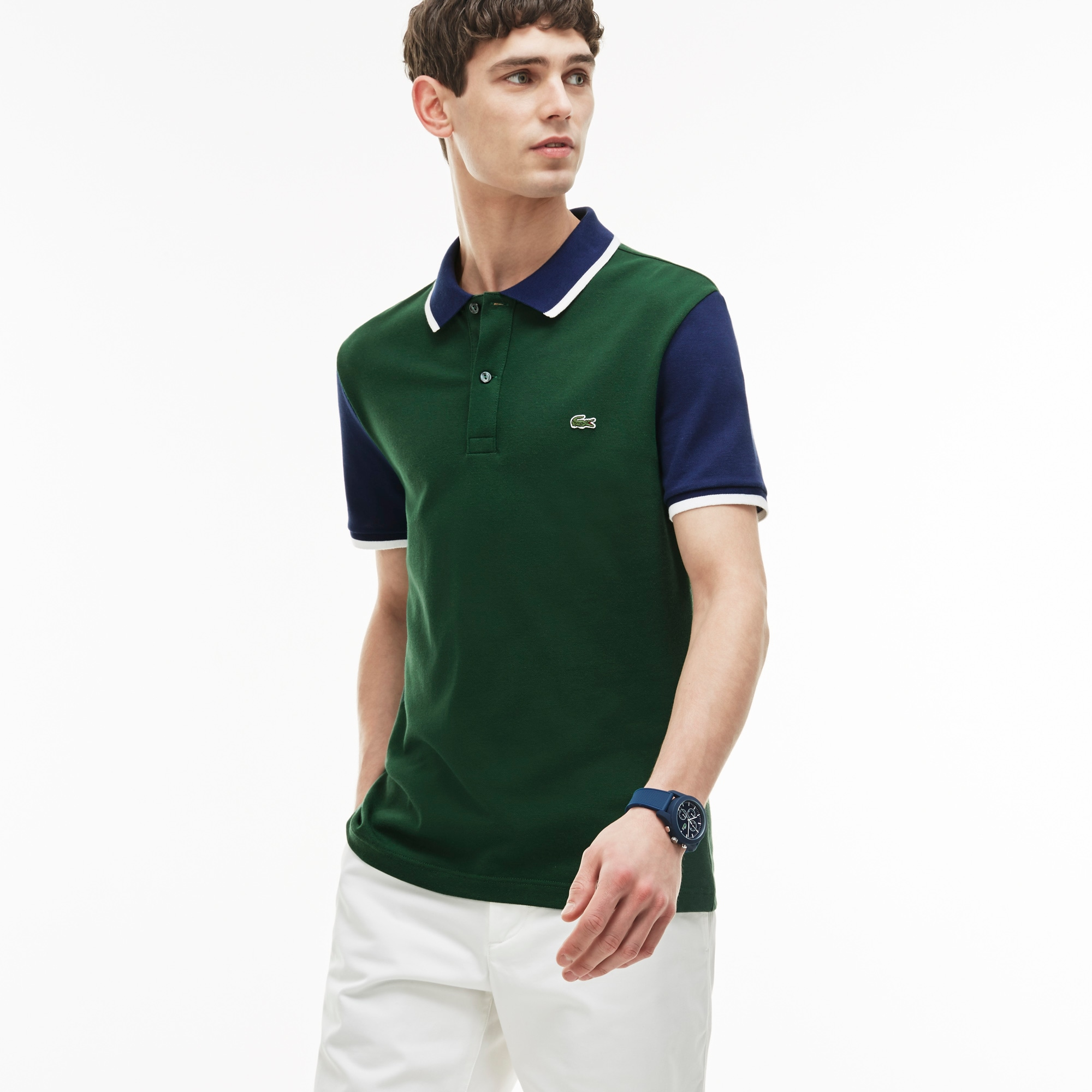 Men's Slim Fit Contrast Sleeves Stretch Piqué Polo Shirt