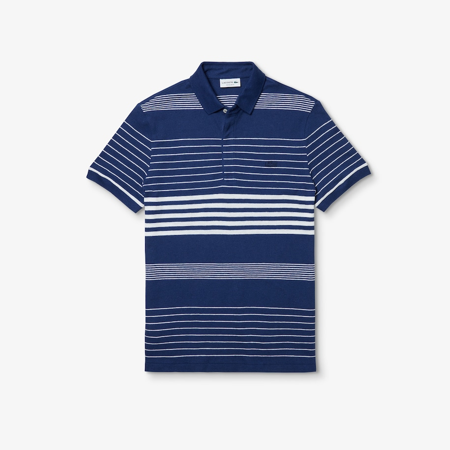 Men's Striped Linen And Cotton Regular Fit Polo Shirt