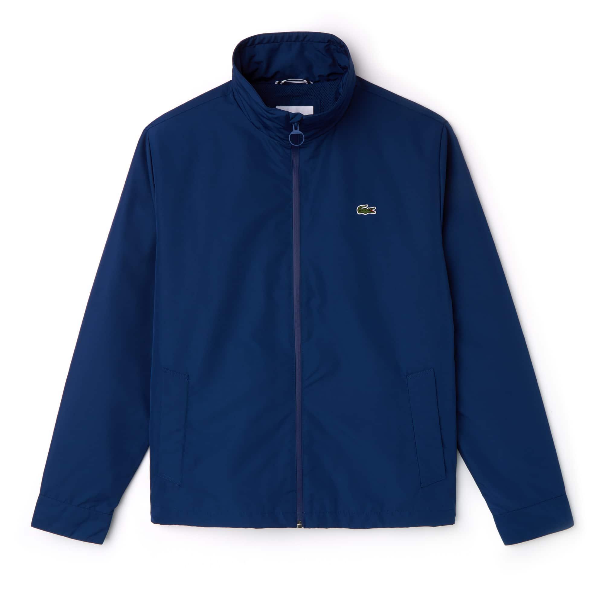 라코스테 Lacoste Mens Concealed Hood Zippered Lightweight Taffeta Jacket,inkwell blue