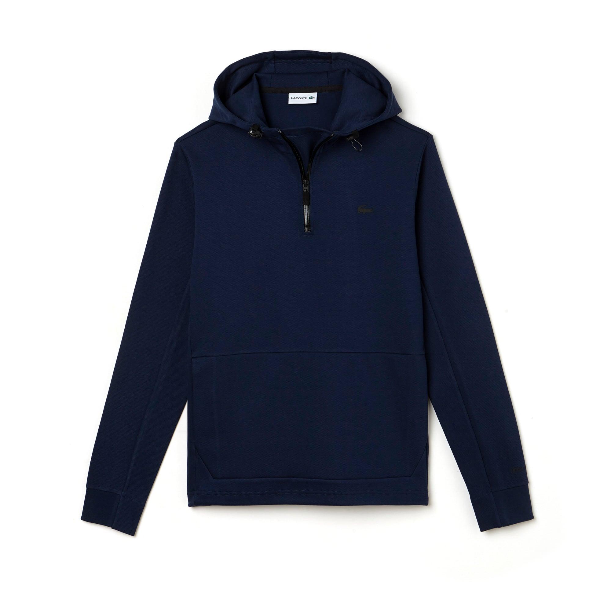 Men's Zip Neck Back Lettering Hooded Sweatshirt