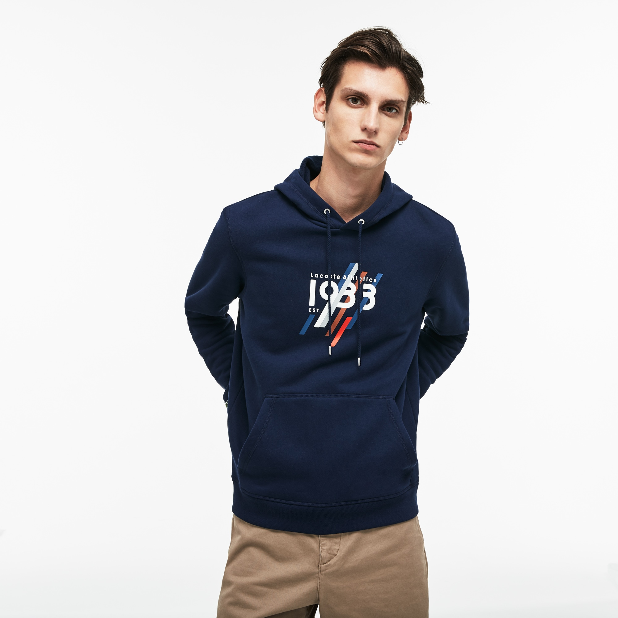1933 Cotton Men's Fleece Lettering Sweatshirt Lacoste Hooded qCH51HxB