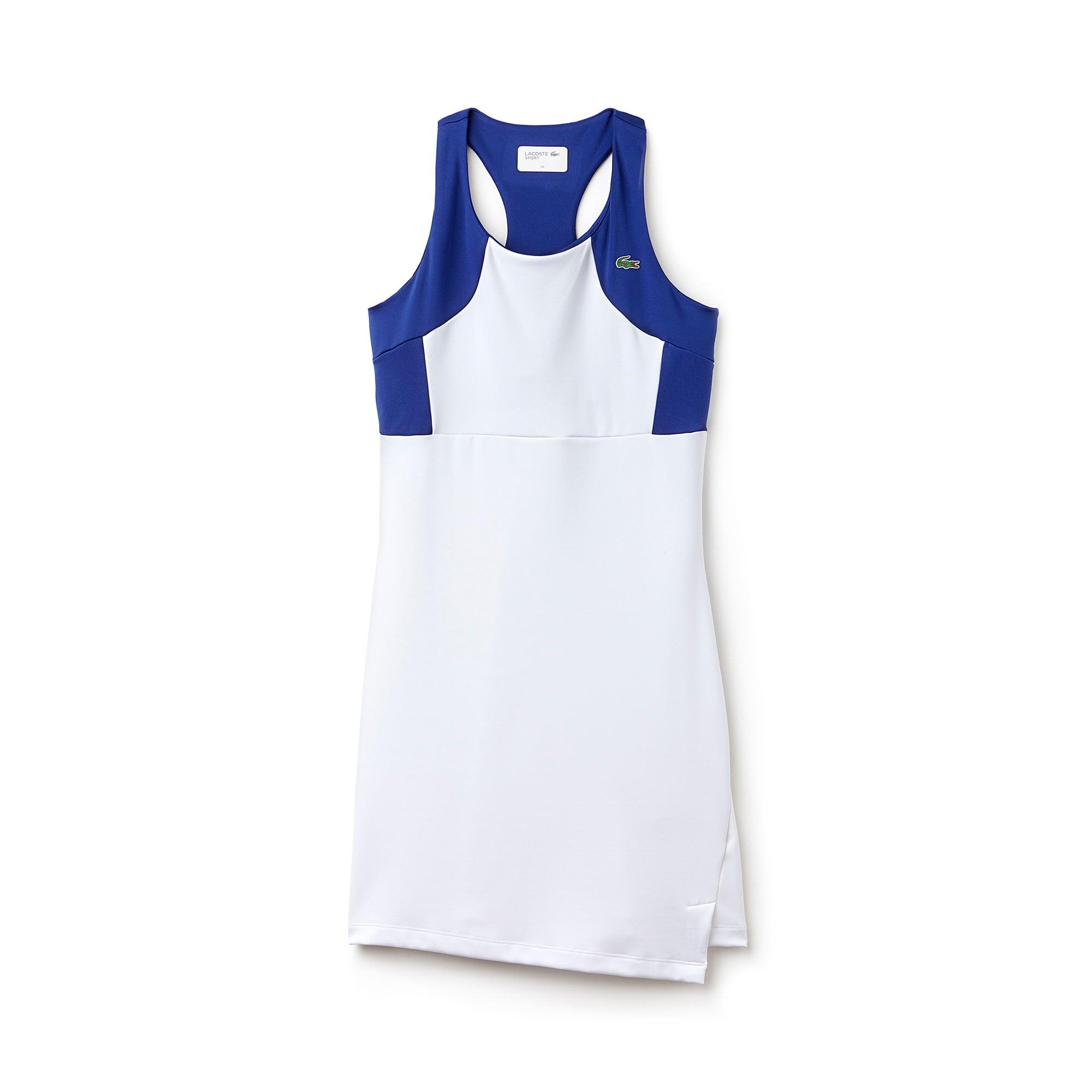 라코스테 Lacoste Womens SPORT Tennis Colorblock Jersey Racerback Dress,WHITE/WHITE-OCEAN