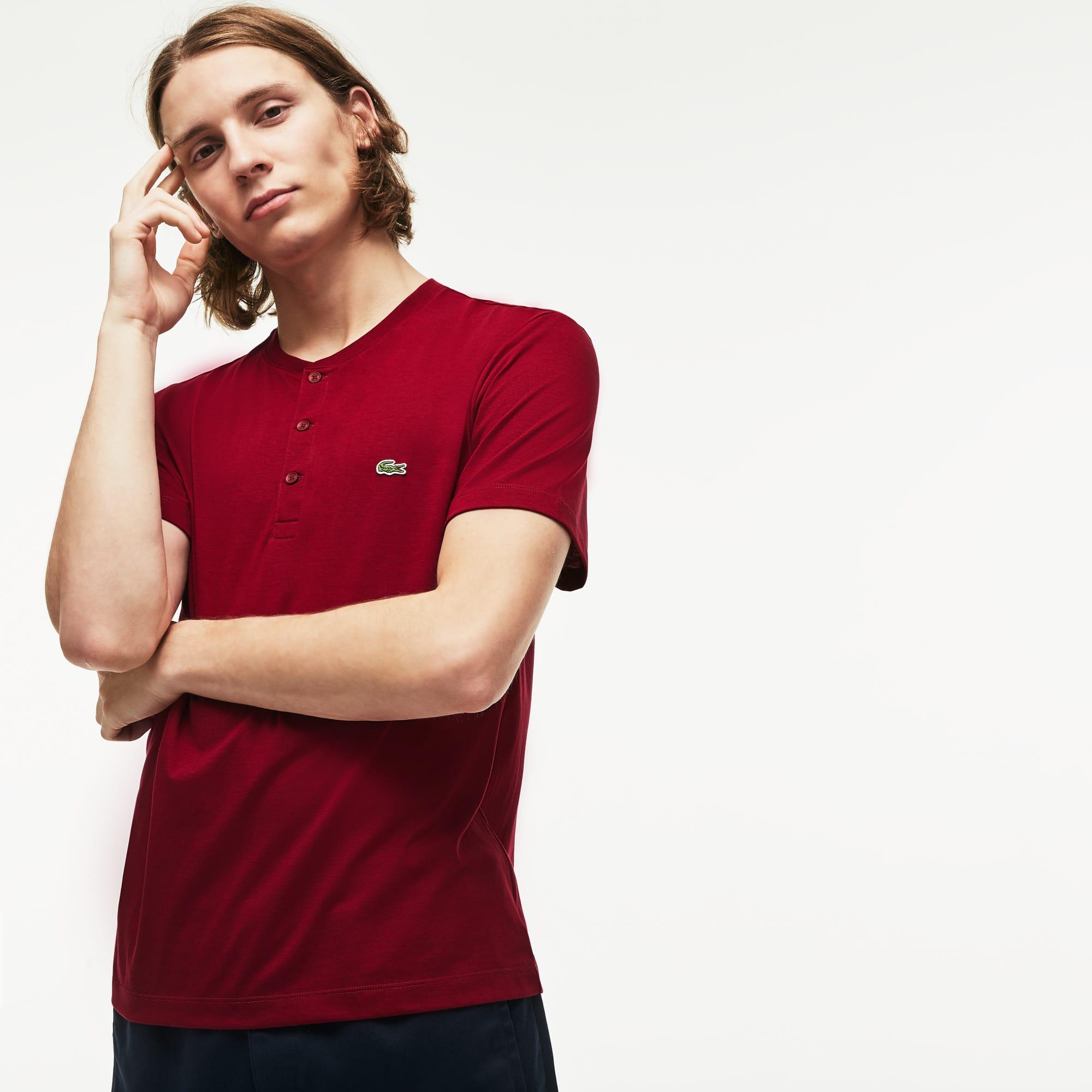 Men's Henley Neck Pima Cotton Jersey T-shirt