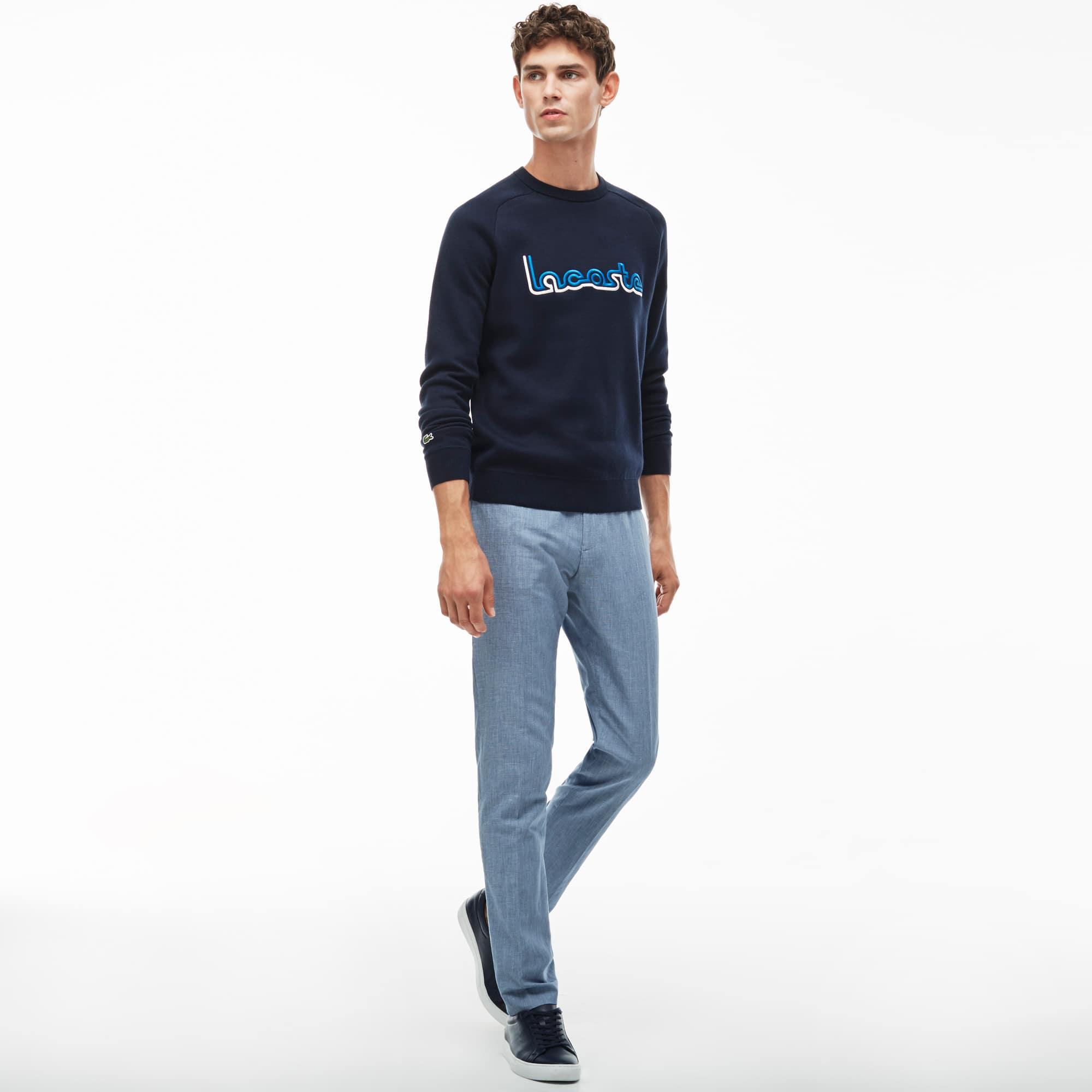 Pantalon De Costume En Toile Bicolore De Coton Et Lin | Lacoste
