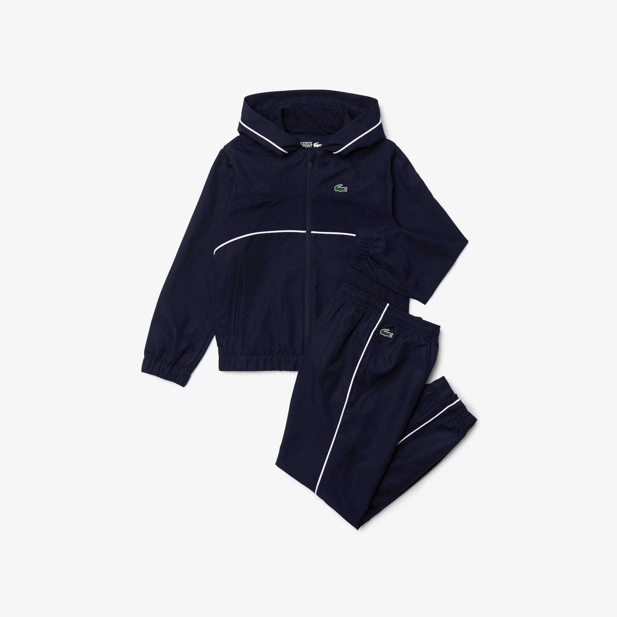라코스테 Lacoste Boys' SPORT Hooded Tennis Tracksuit,Navy Blue / White 525