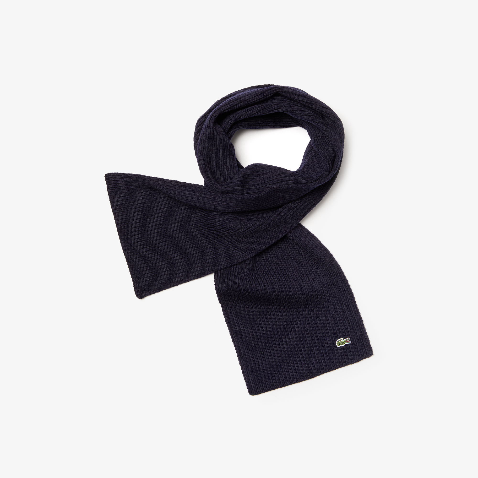 라코스테 Lacoste Mens Ribbed Wool Scarf,Navy Blue