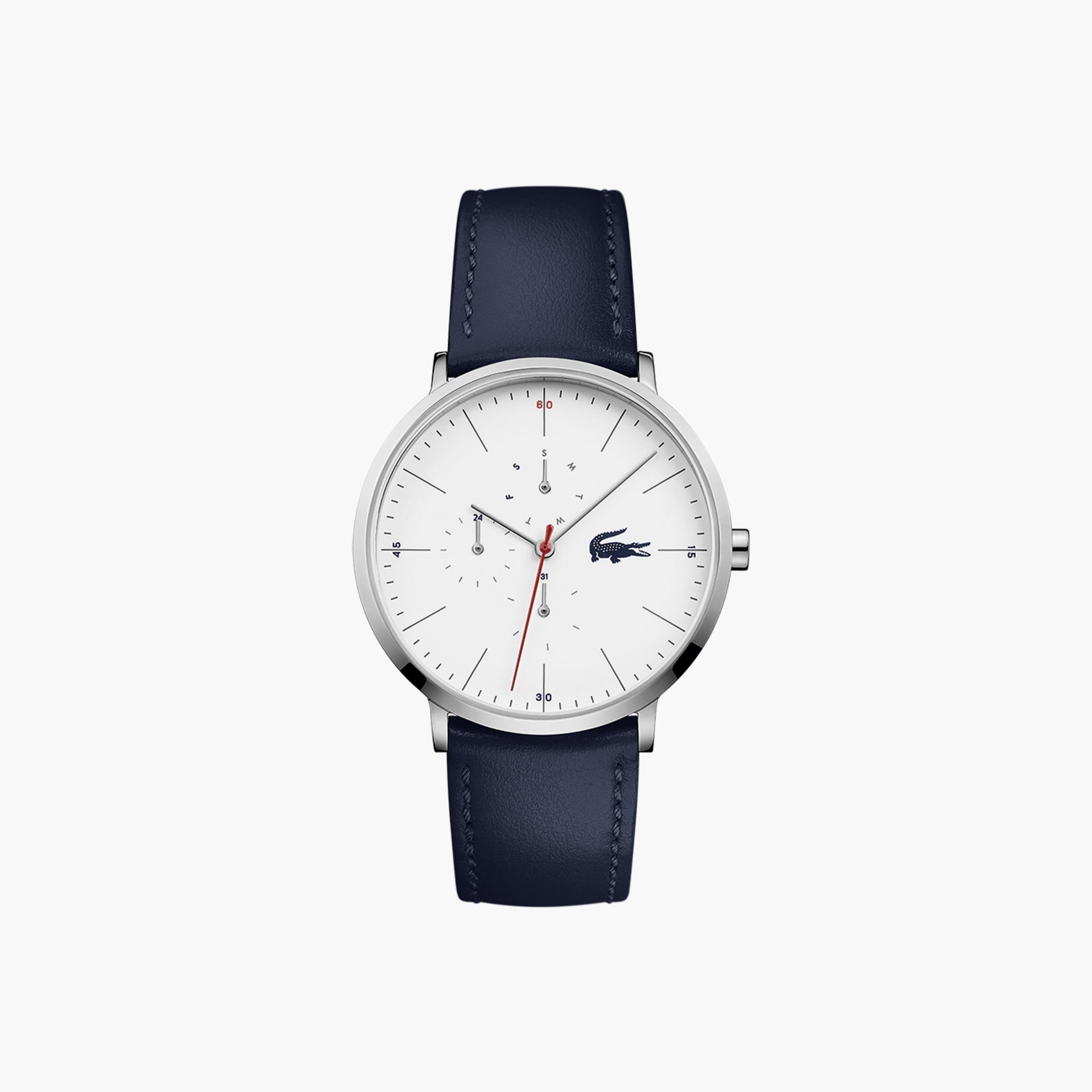 Men's Moon Multifunctions Ultra Slim Watch with Blue Leather Strap