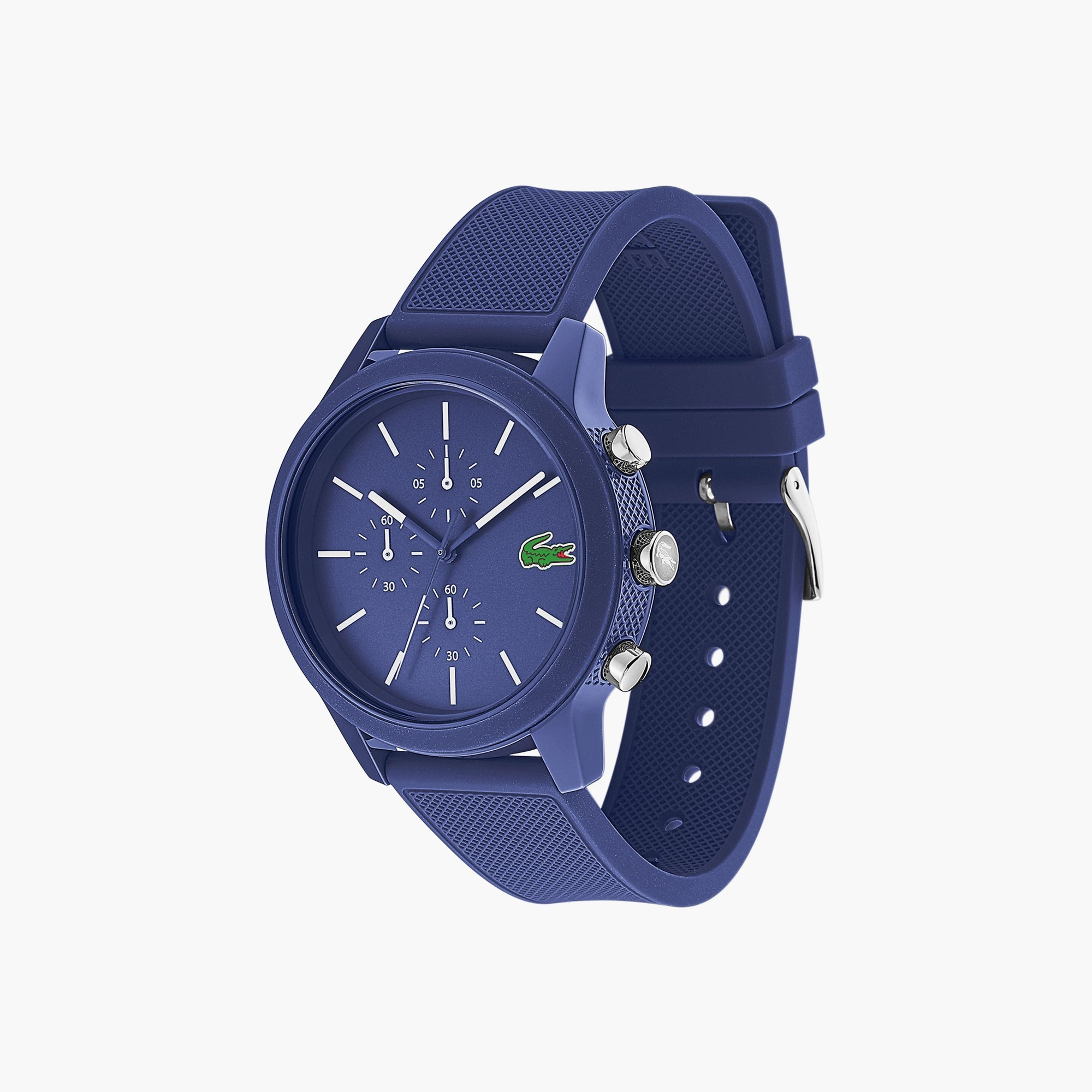 라코스테 크로노그래프 시계 Mens Lacoste 12.12 Chronograph Watch with Blue Silicone Strap,Blue