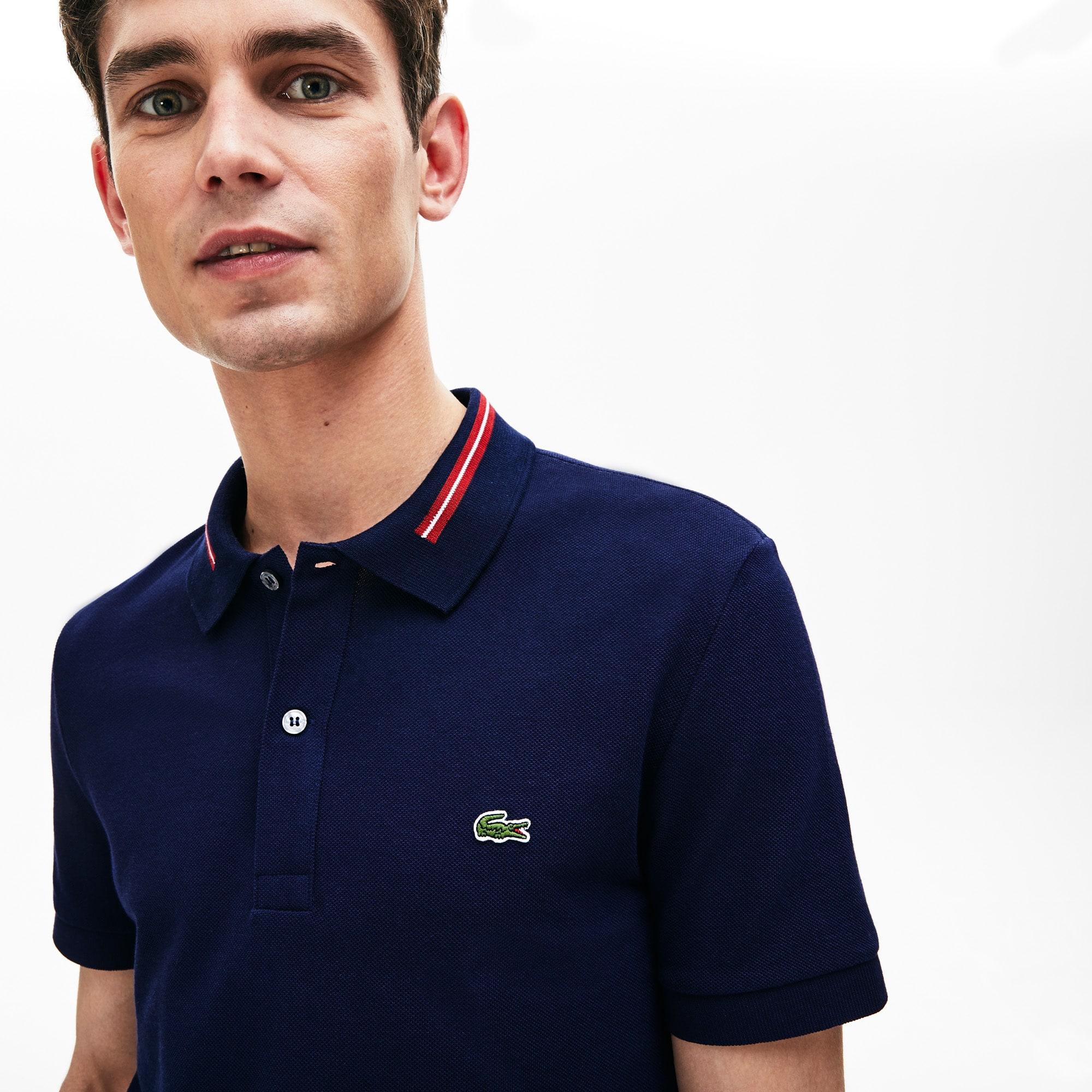 Lacoste Tops Men's Slim Fit Stripe-Accented Cotton Piqué Polo