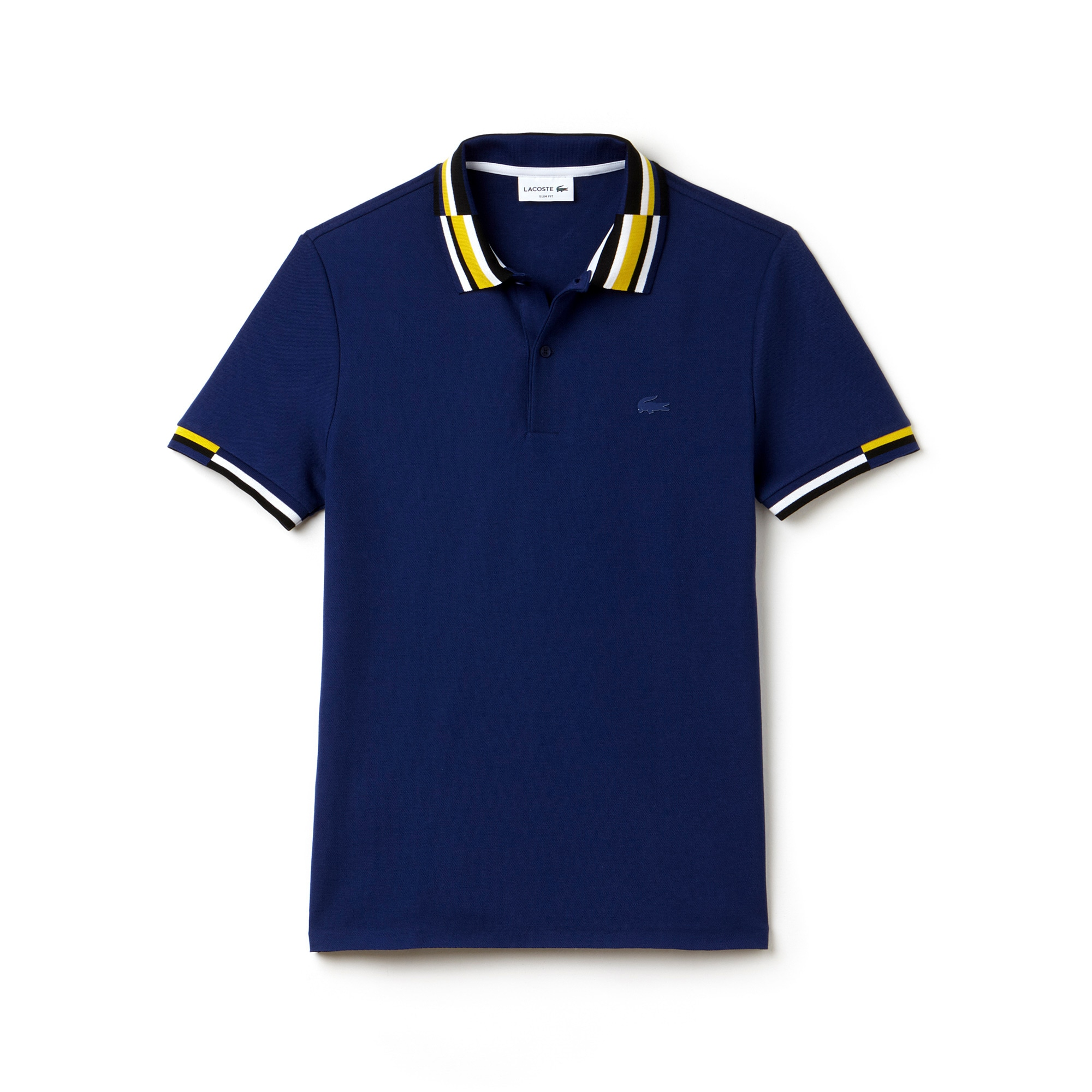 Men's  Slim Fit Colorblock Striped Knop Piqué Polo
