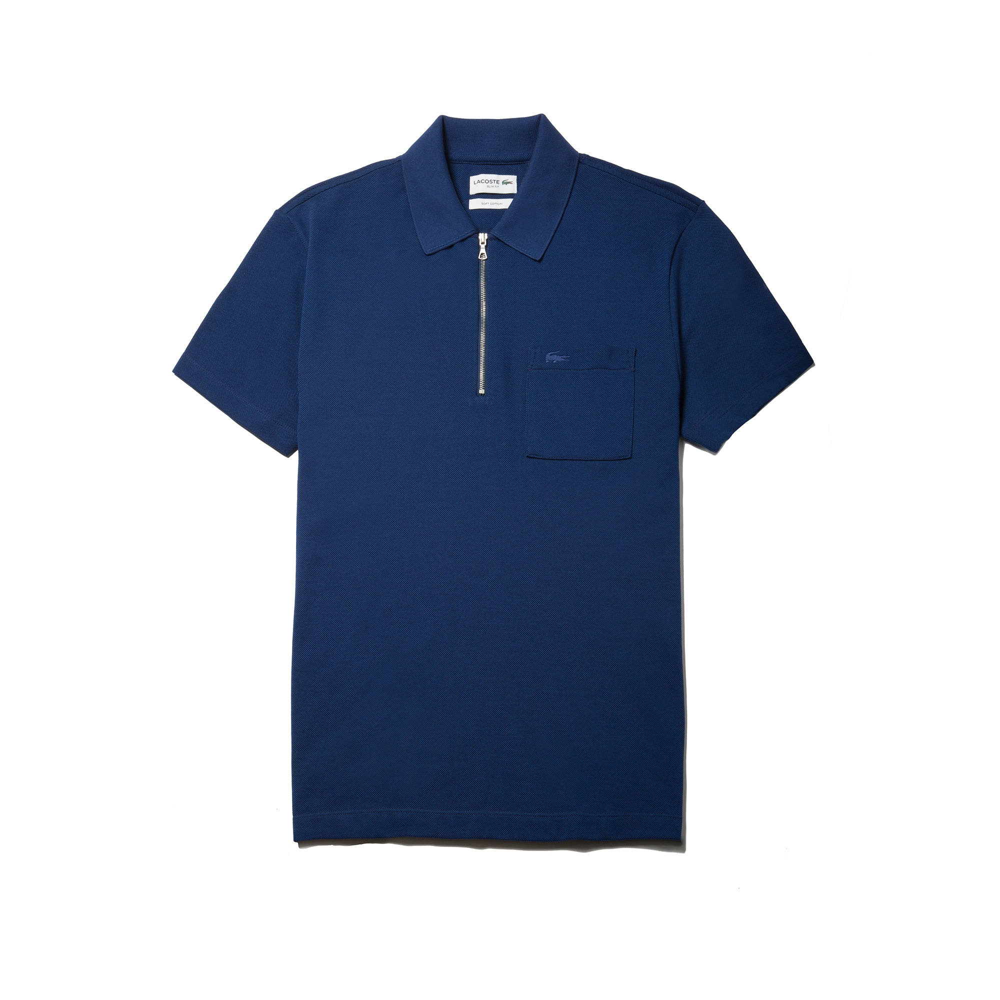 Men's  Slim Fit Zip Neck Cotton Piqué Polo by Lacoste