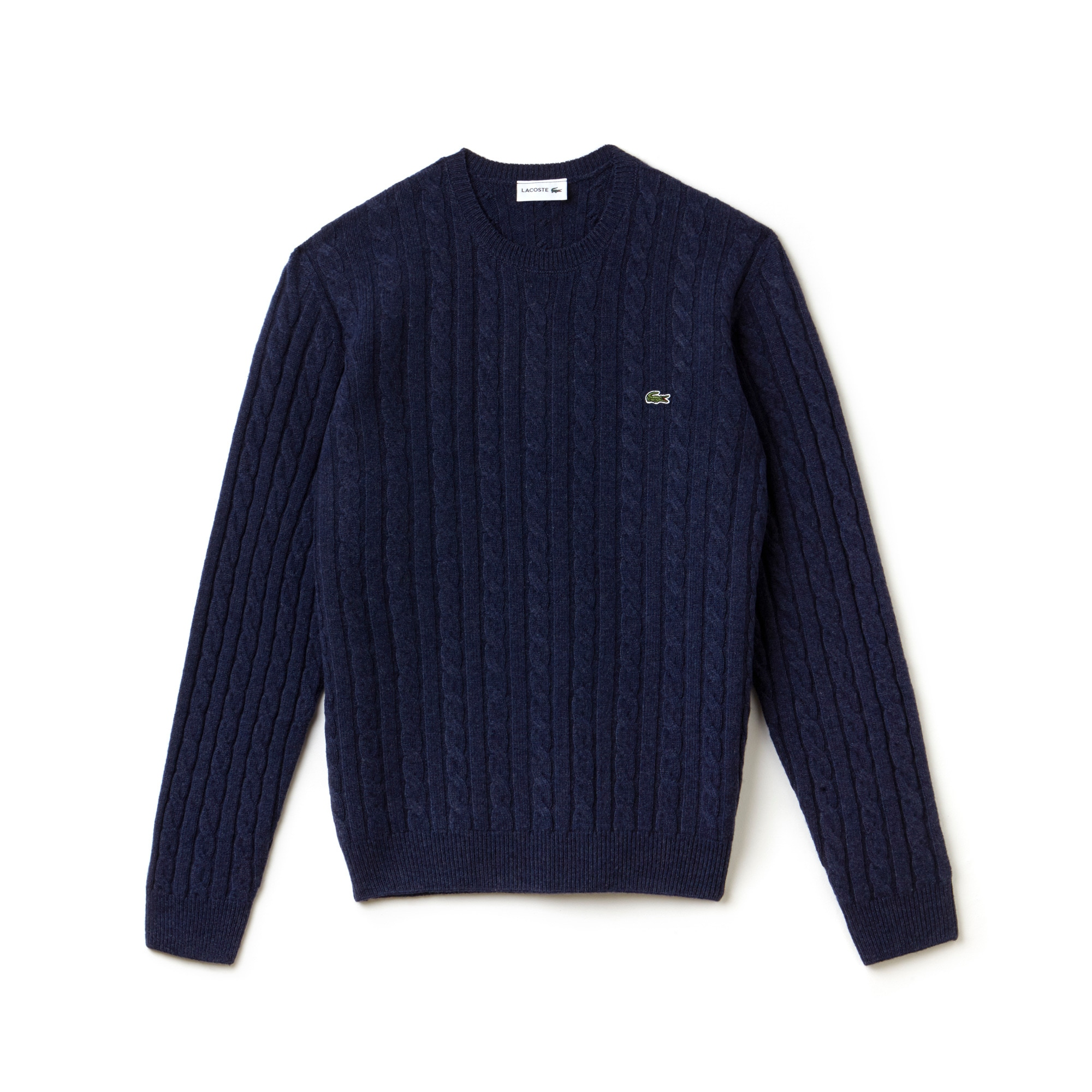Men's Crew Neck Wool Cable Knit Effect Sweater | LACOSTE