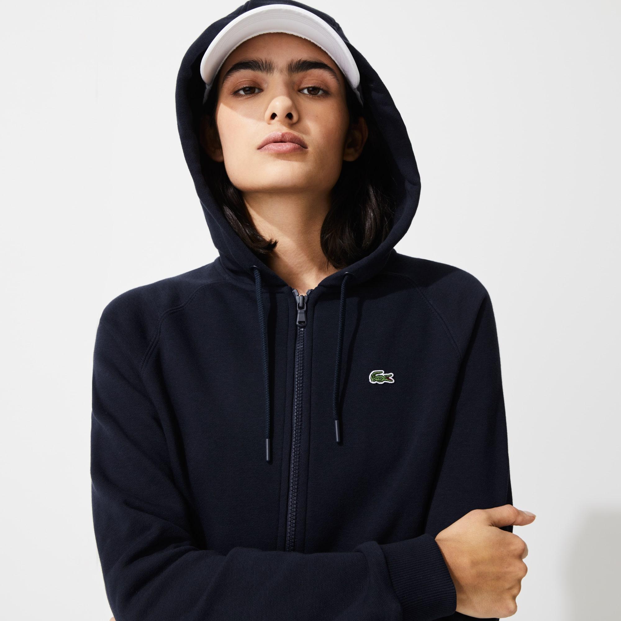 라코스테 Lacoste Womens SPORT Hooded Fleece Zip Tennis Sweatshirt