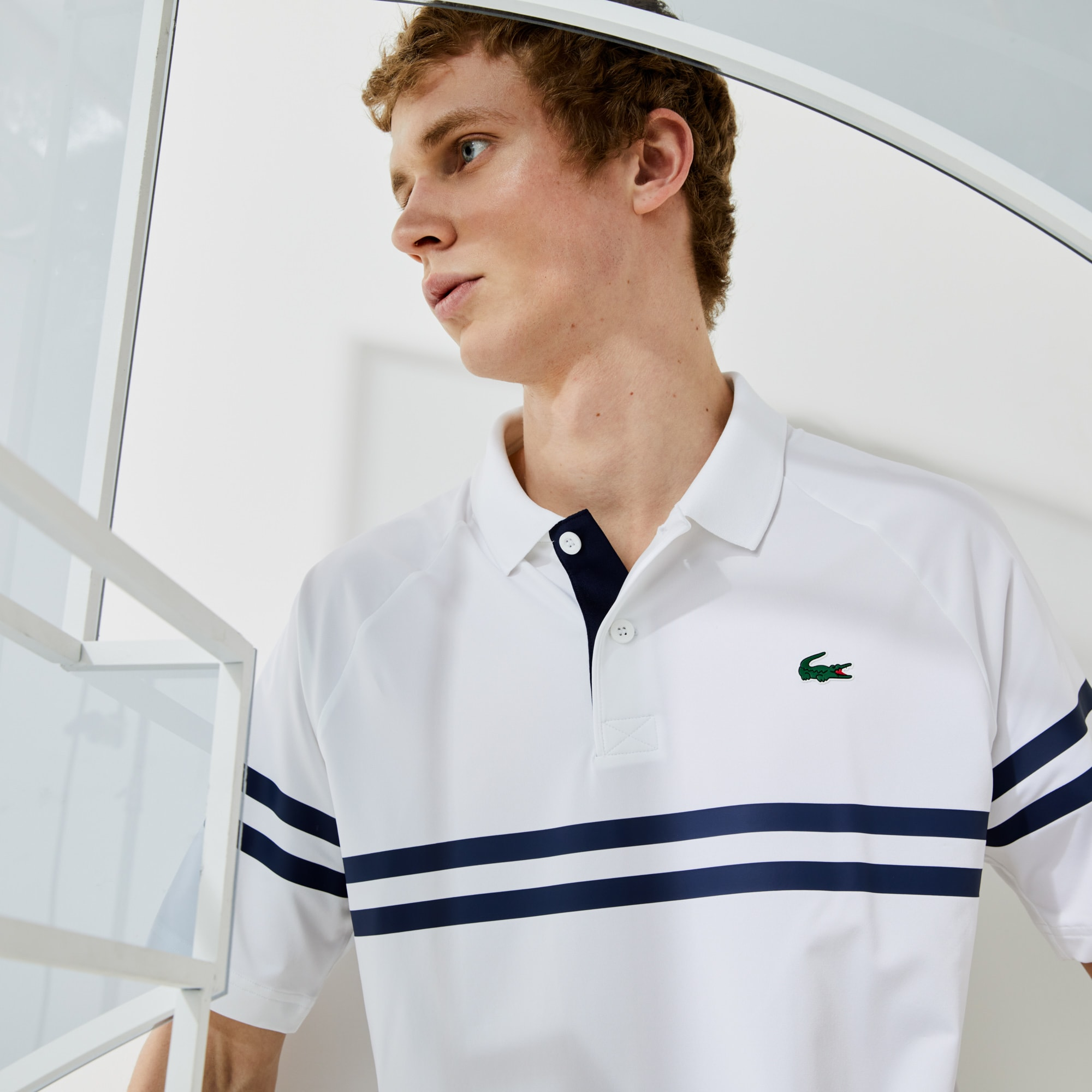 라코스테 Lacoste Men's SPORT x Novak Djokovic Ultra-Light Striped Polo