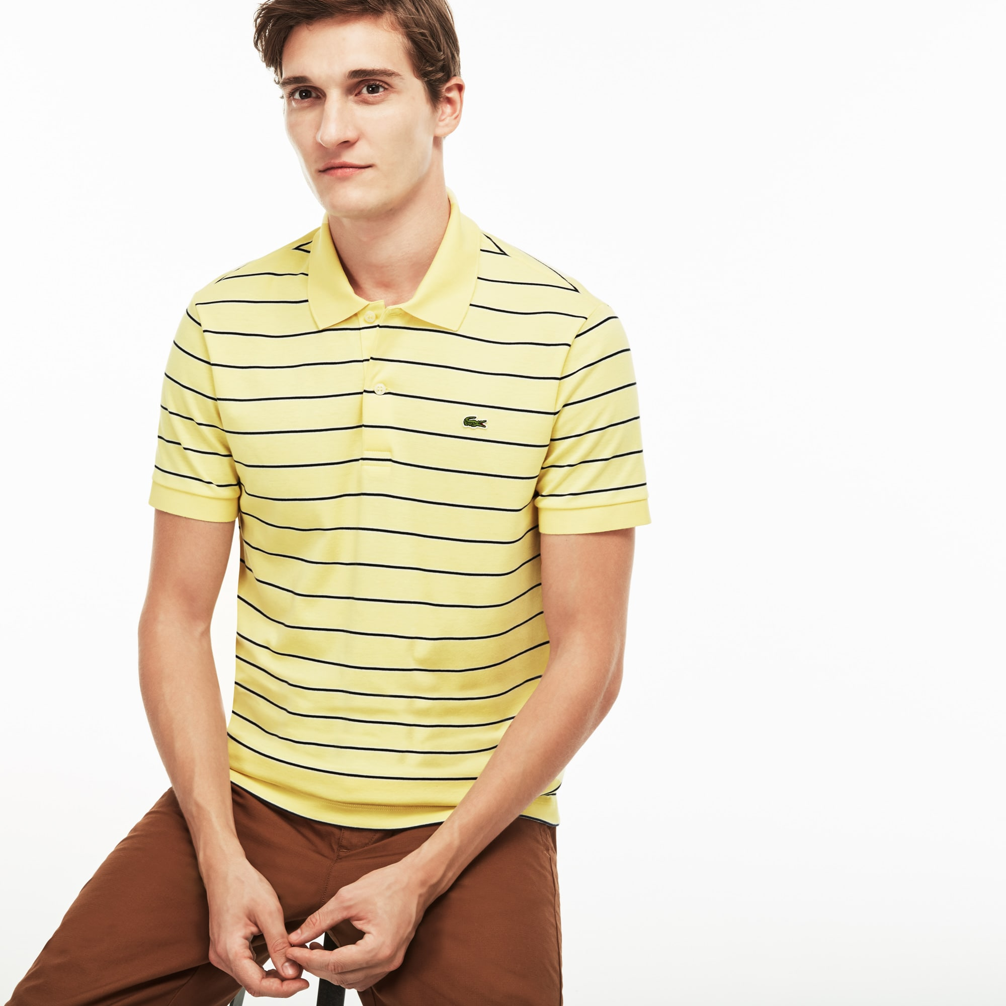 Men's Regular Fit Striped Pima Cotton Interlock Polo