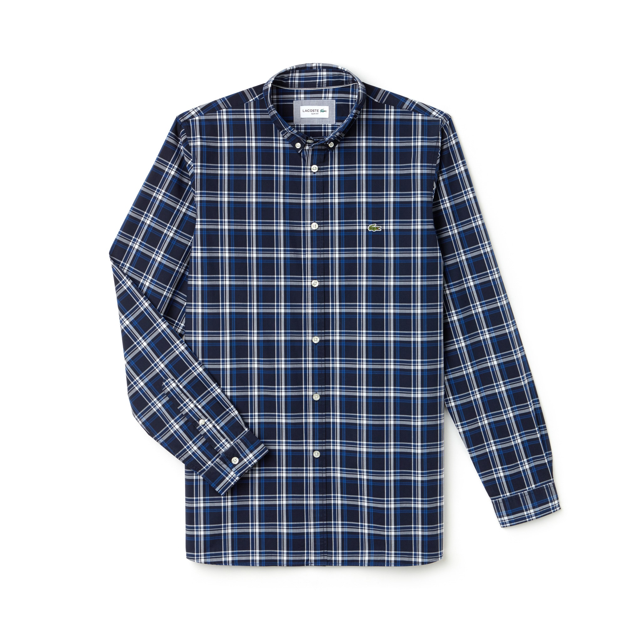 Men's Slim Fit Wide Check Poplin Shirt