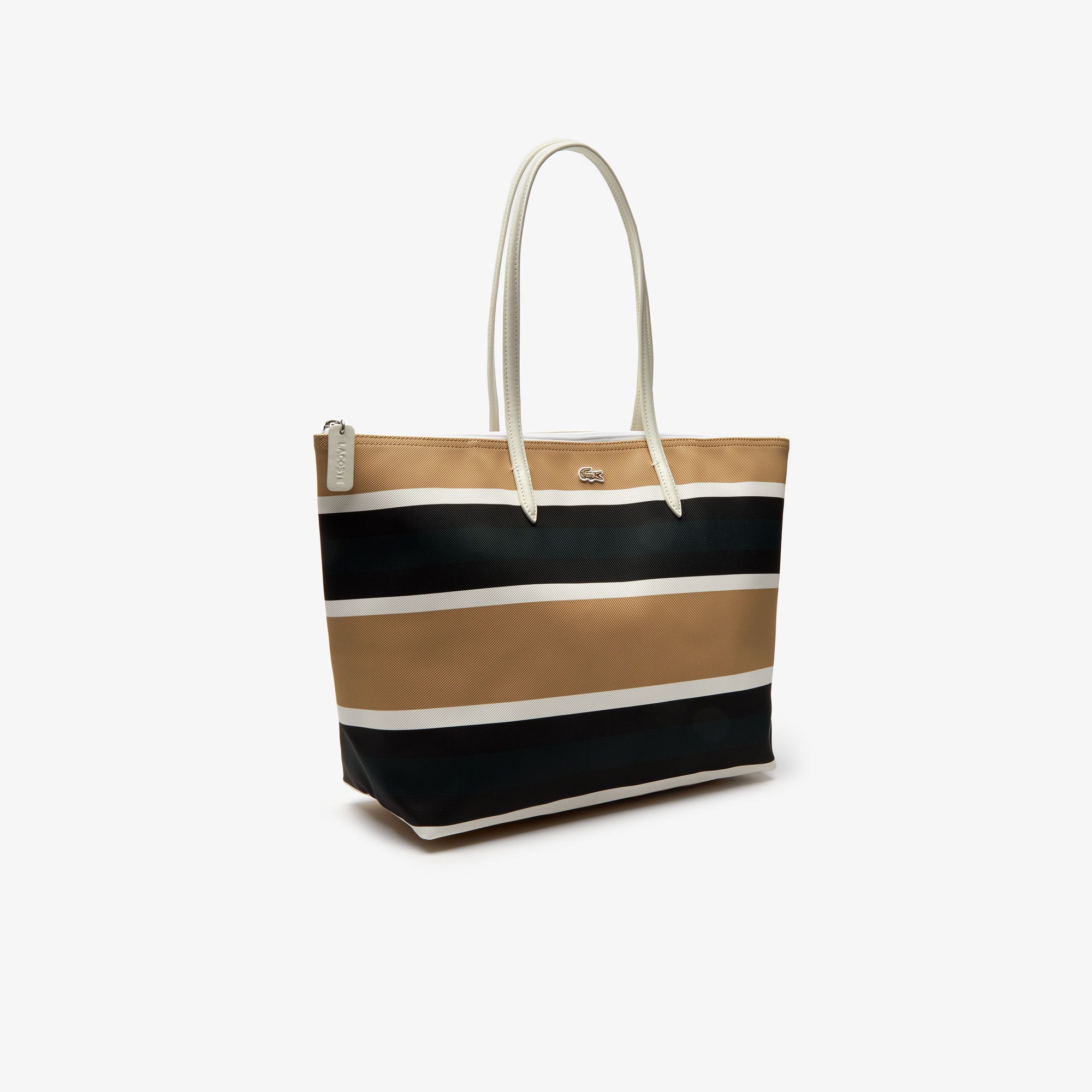 Women's L.12.12 Concept Coated Striped Canvas Zip Tote Bag