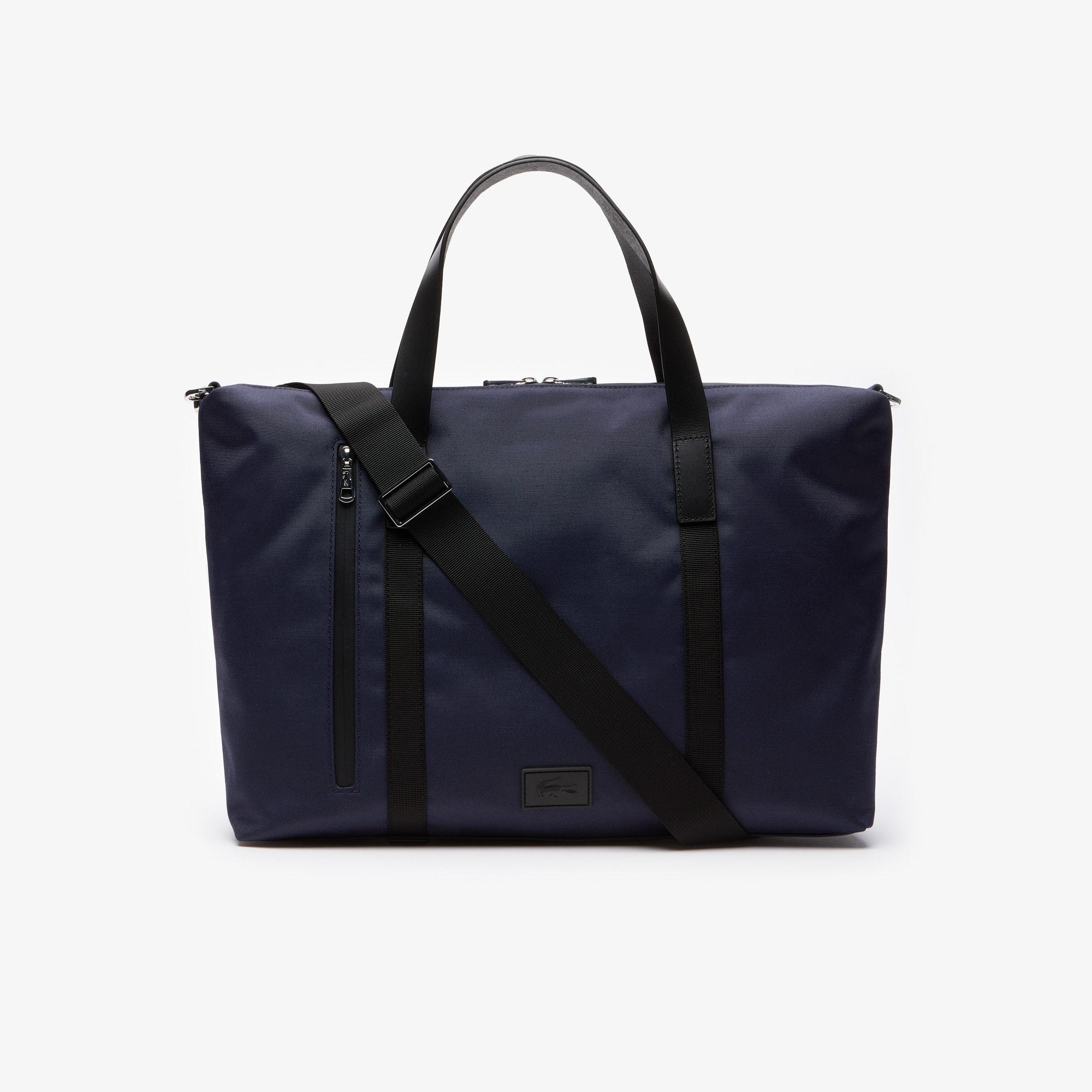 라코스테 말로 컴퓨터 백 Lacoste Mens Malo Leather Accent Computer Bag,BLACK IRIS BLACK