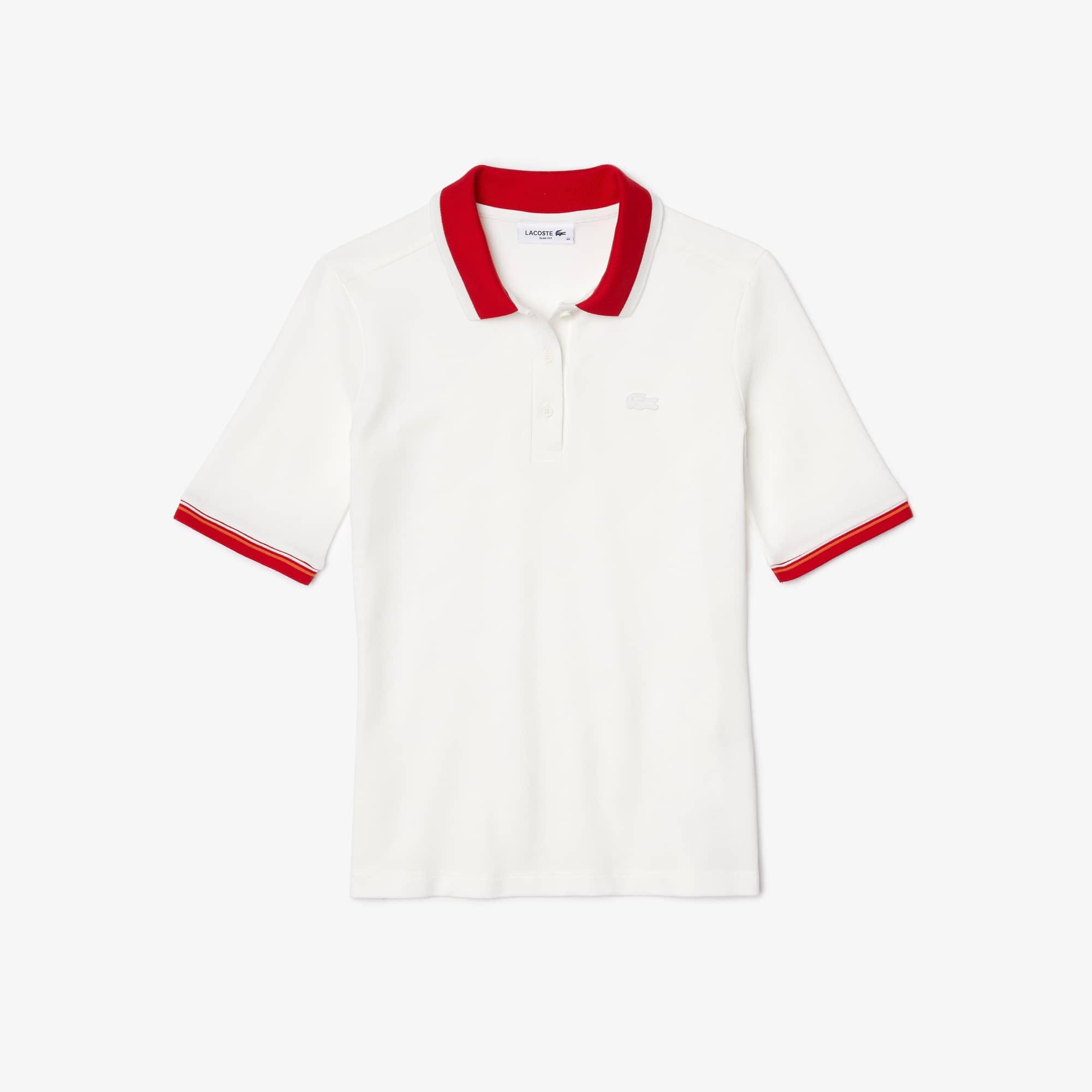 Lacoste Women's Slim Fit Colored Neck Stretch Cotton Pique Polo