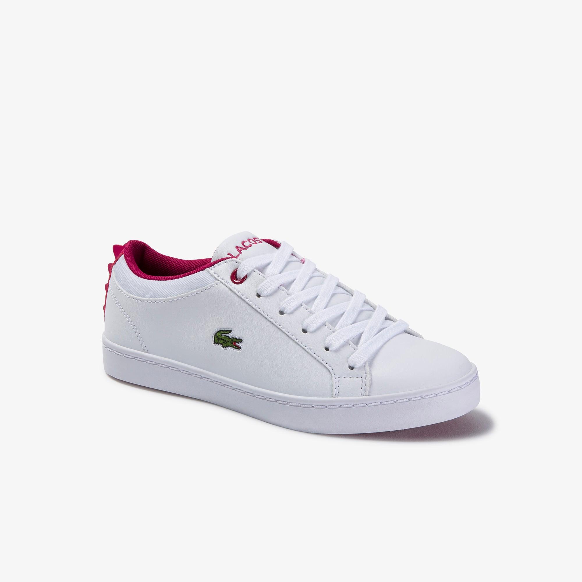 라코스테 Lacoste Childrens Straightset Lace-up Synthetic and Textile Sneakers,WHITE/DARK PINK • 1T4