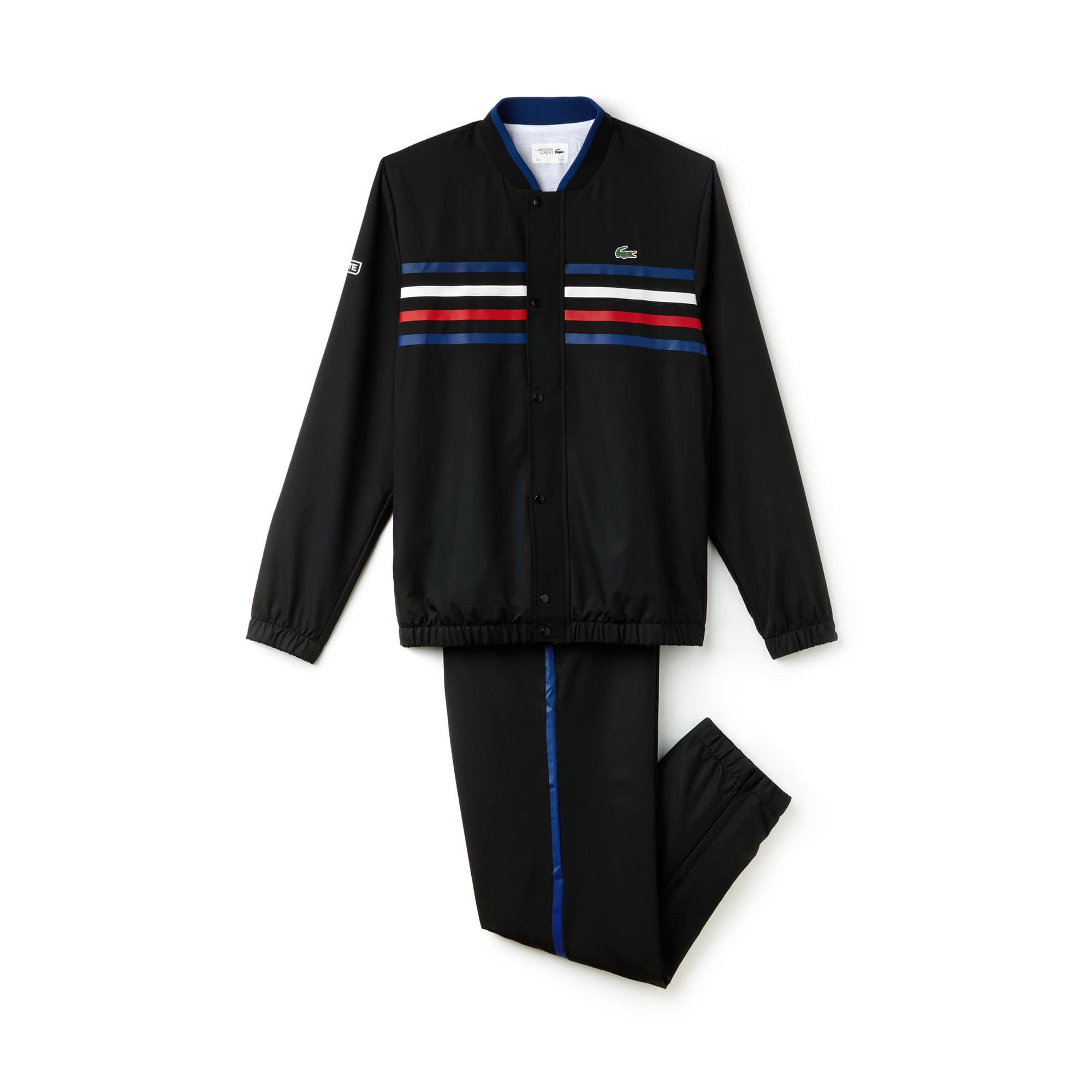 라코스테 스포츠 트랙 수트 Lacoste Mens SPORT Colored Bands Tennis Tracksuit,black/marino-white-red-wh