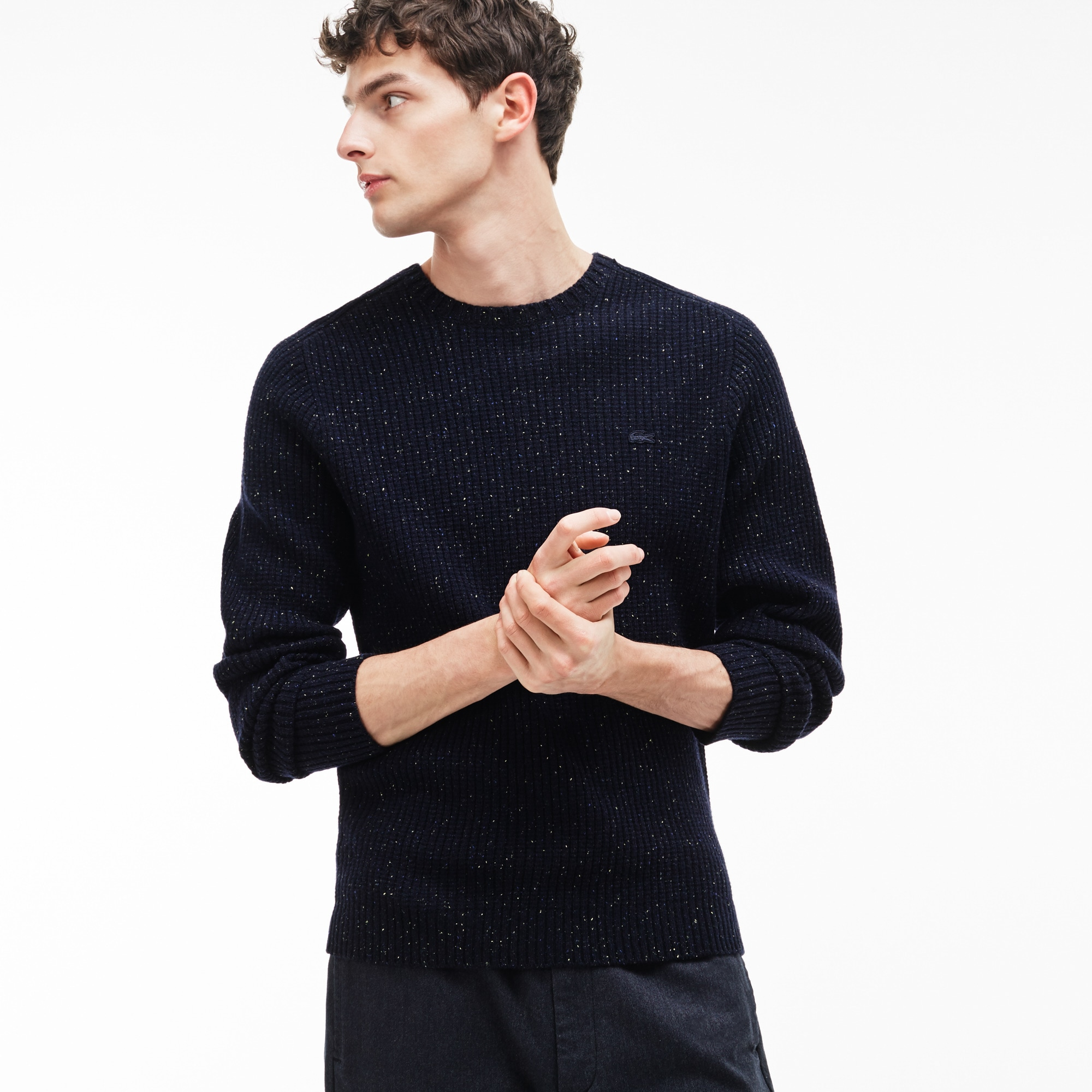 Mens Crew Neck Two Tone Polka Dot Waffle Stitch Wool Sweater Lacoste