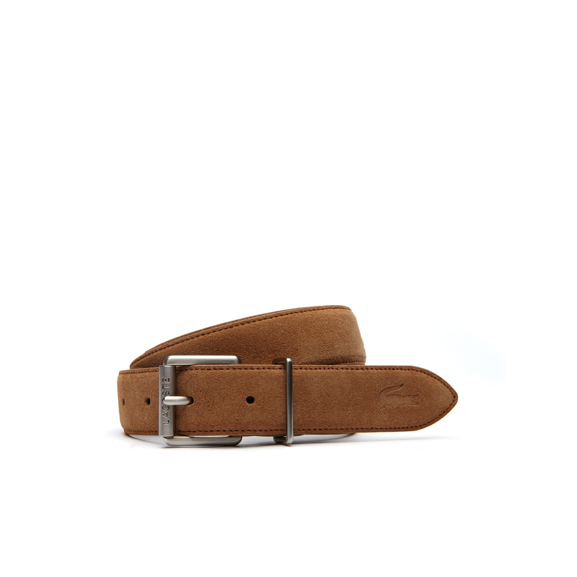 라코스테 Lacoste Mens Tongue Buckle Suede-Style Leather Belt,camel