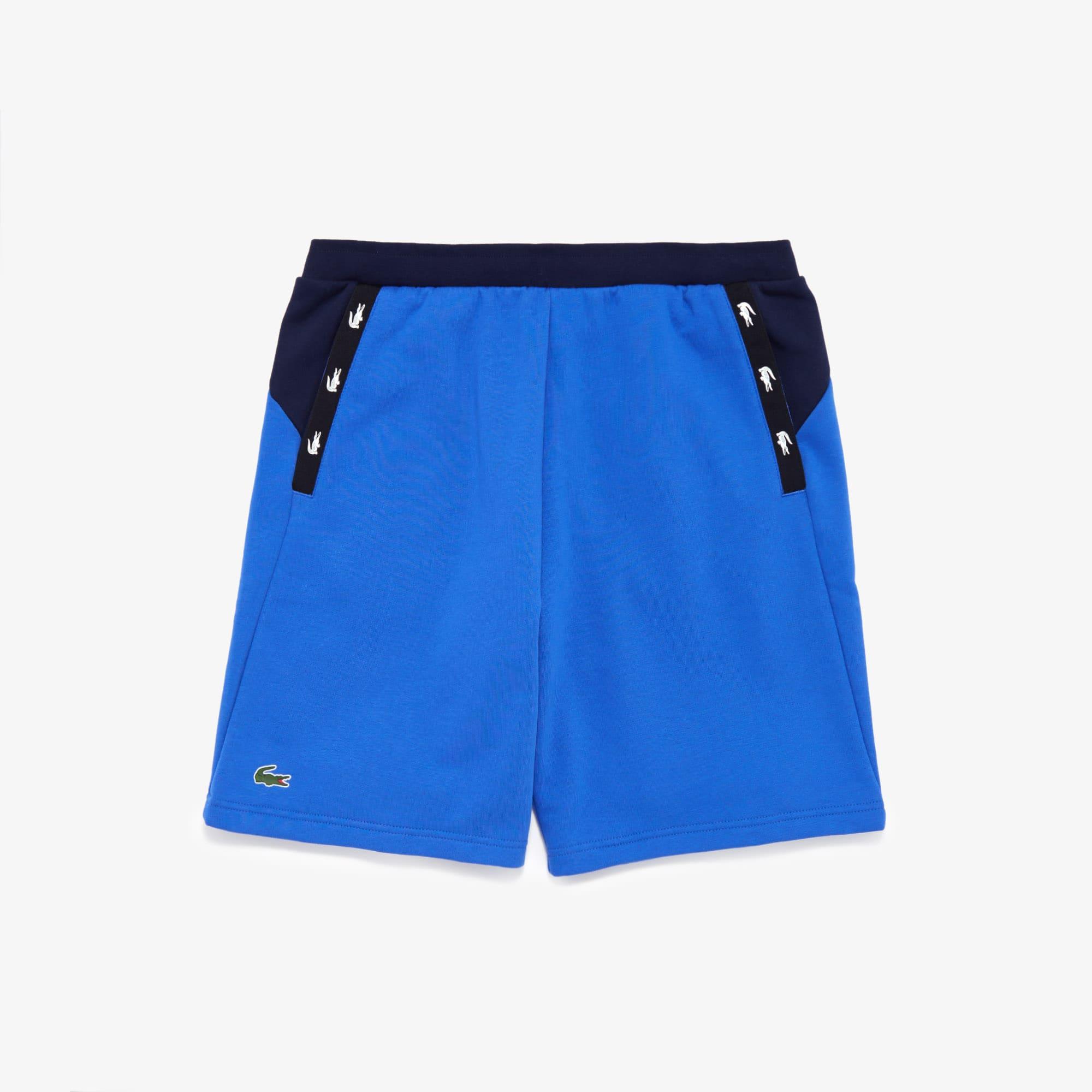 Lacoste Mens SPORT Crocodile Striped Colorblock Fleece Shorts