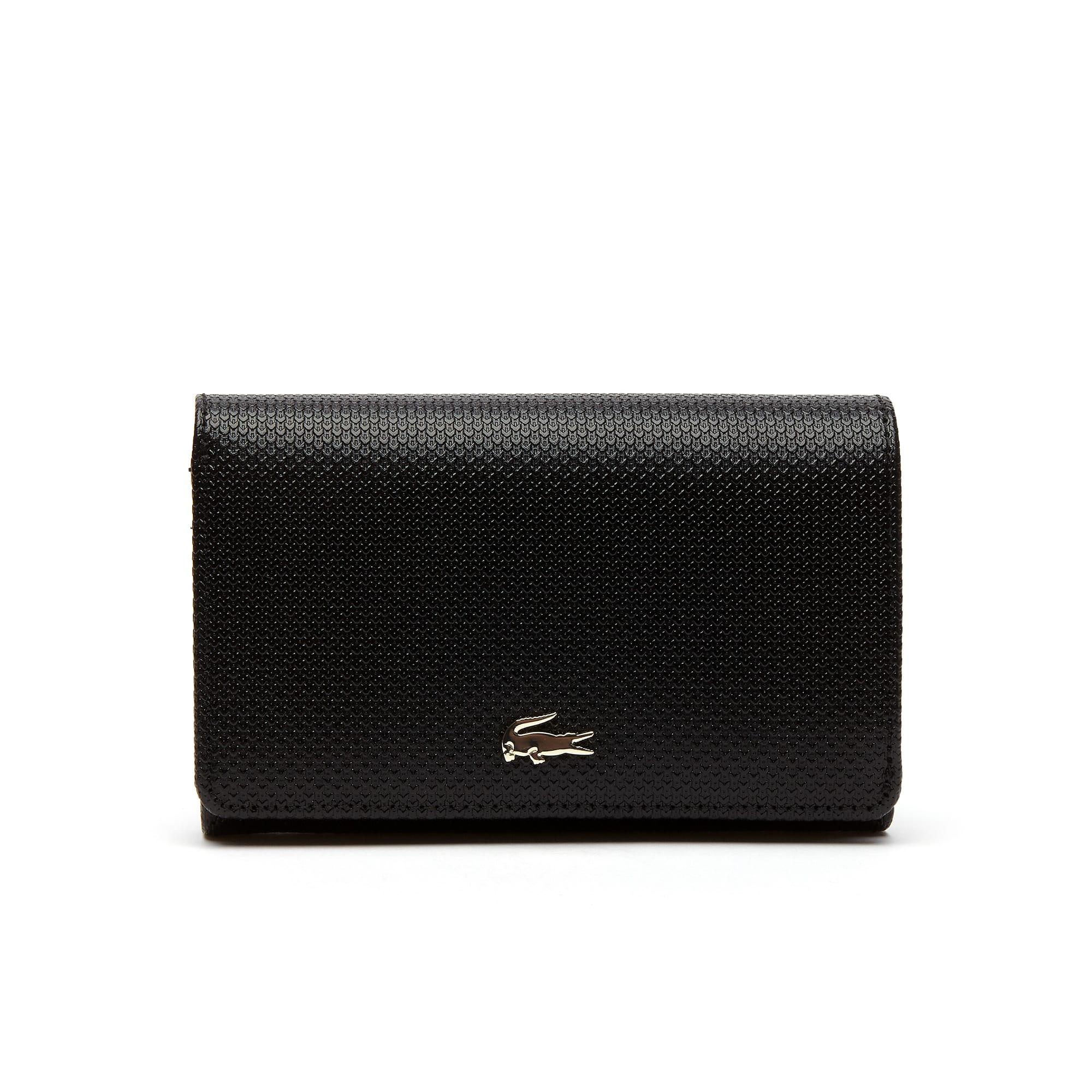 라코스테 지갑 Lacoste Womens Chantaco Bicolor Pique Leather Six Card Wallet,black