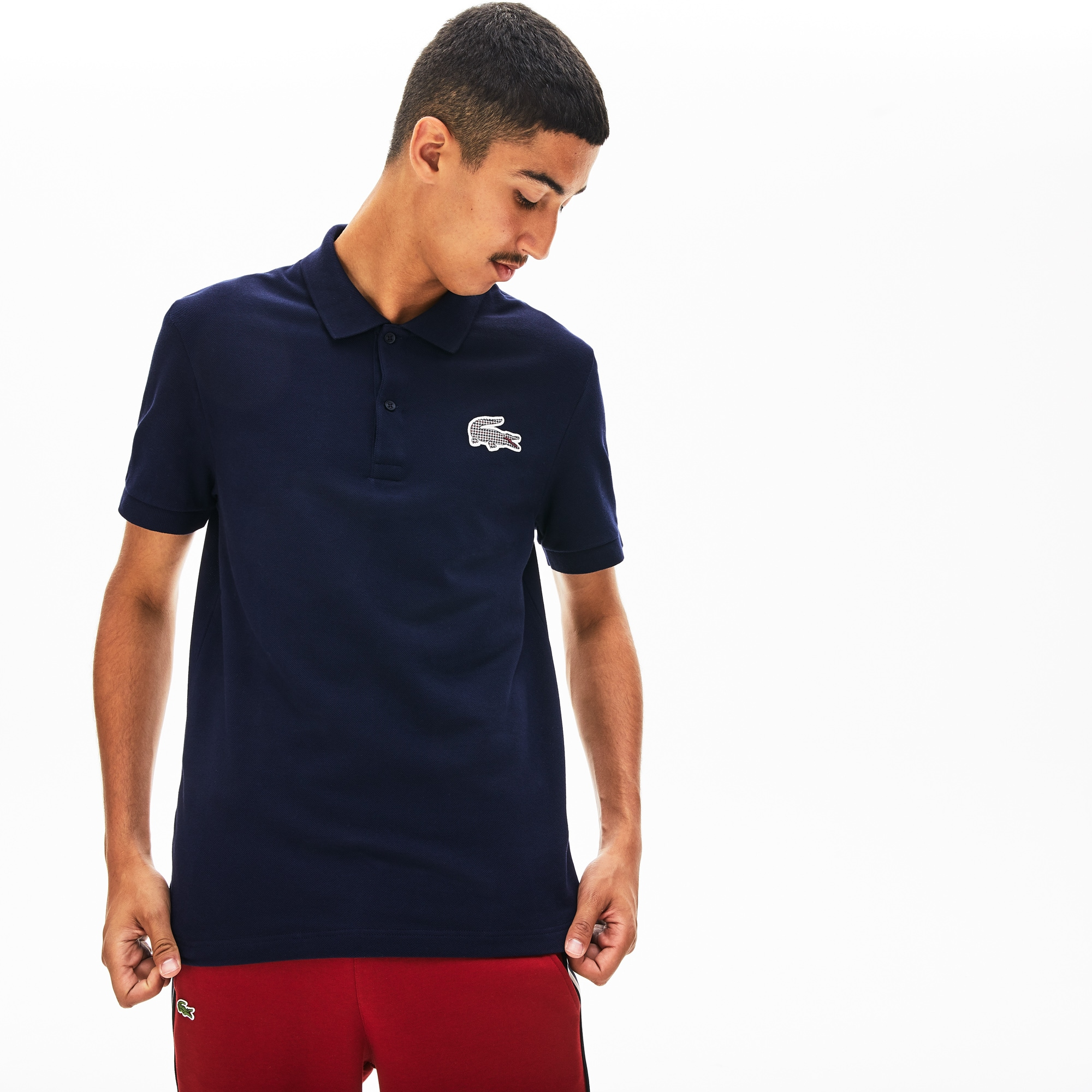 Men's Regular Fit Checkered-Logo Piqué Polo Shirt