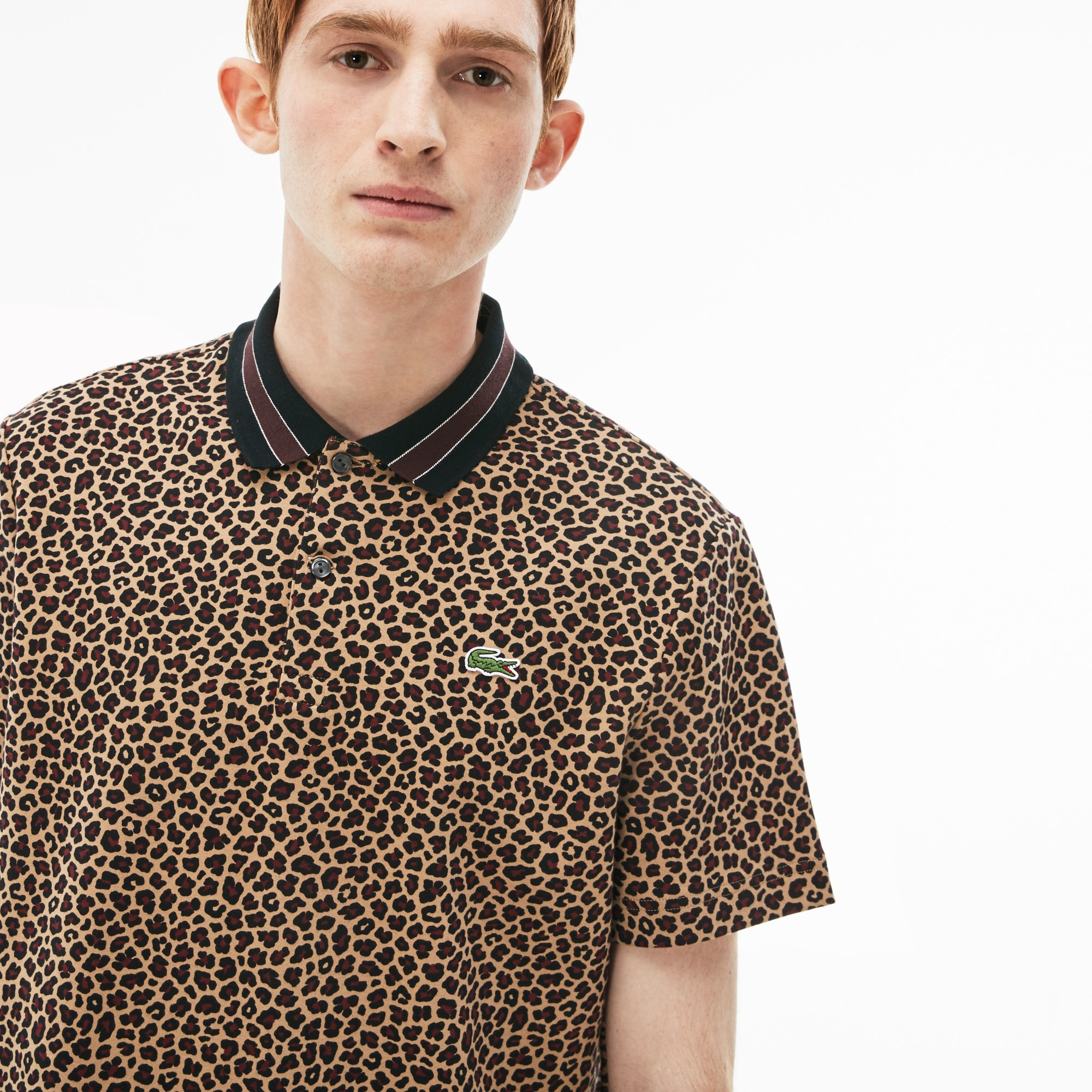 Men's LIVE Regular Fit Leopard Print Interlock Polo