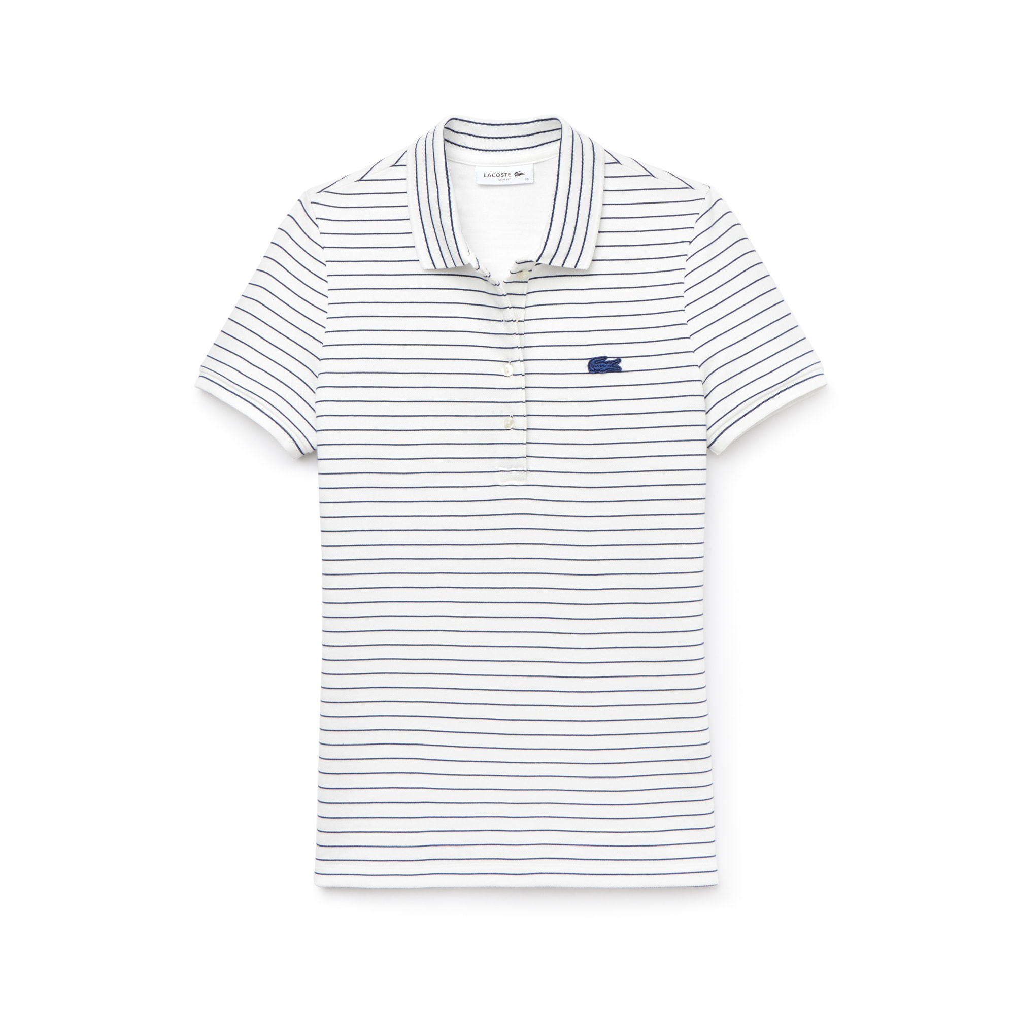 Women's Slim Fit Striped Stretch Cotton Mini Piqué Polo