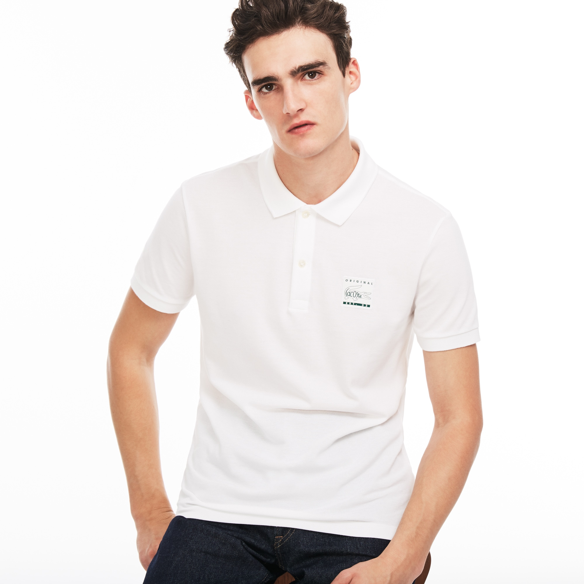 Men's Regular Fit Patch Piqué Polo