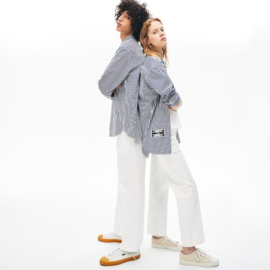 Unisex LIVE Boxy-Fit Striped Cotton Shirt
