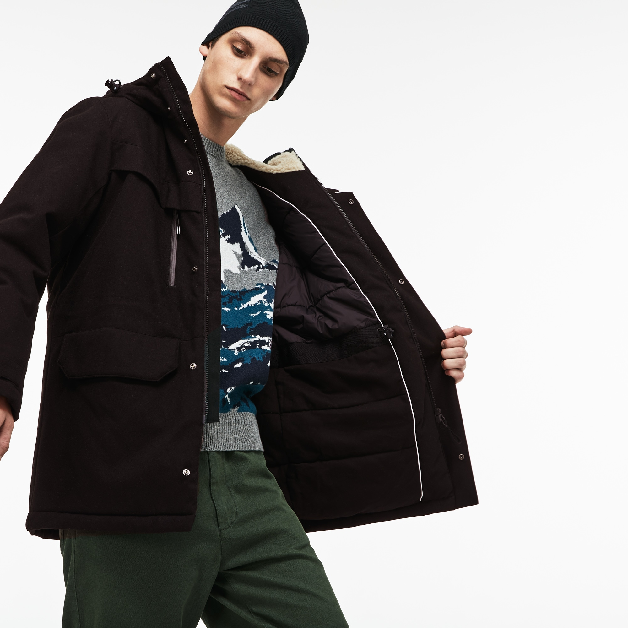 Men's Hooded And Faux Fur Lined Quilted Twill Parka