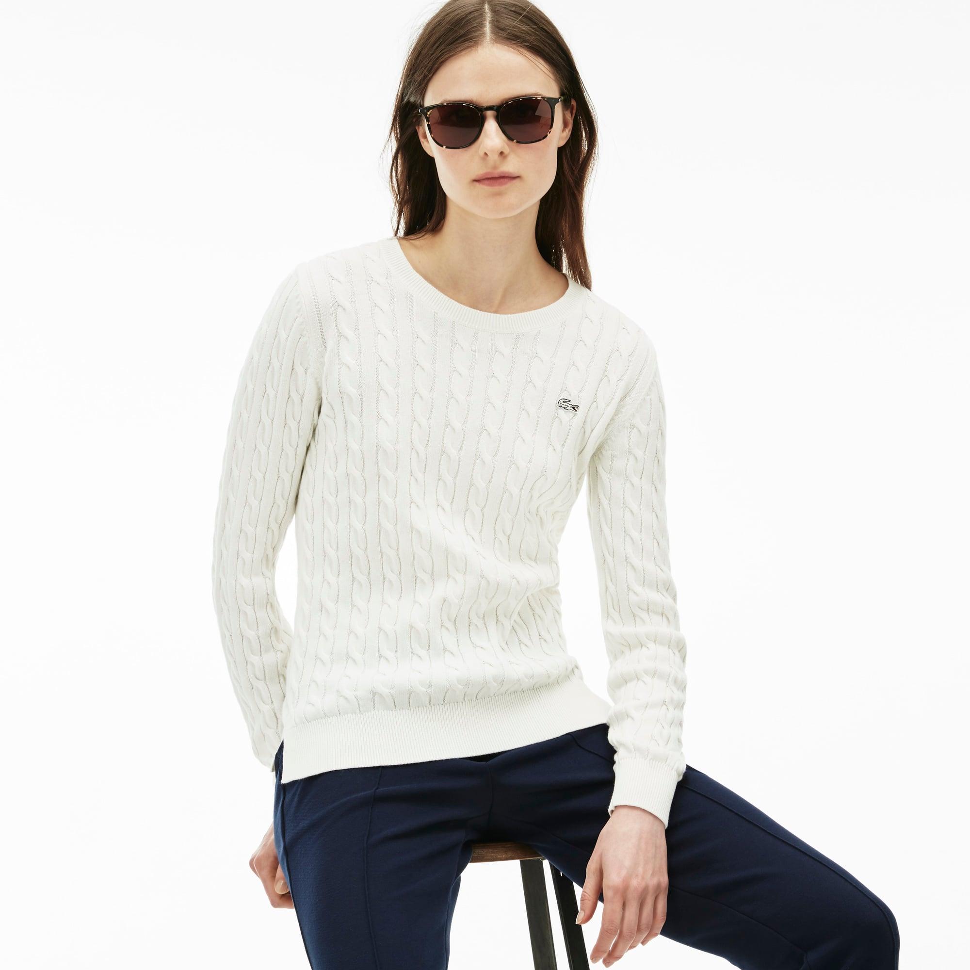 Women's Cotton Cable Knit Crewneck Sweater