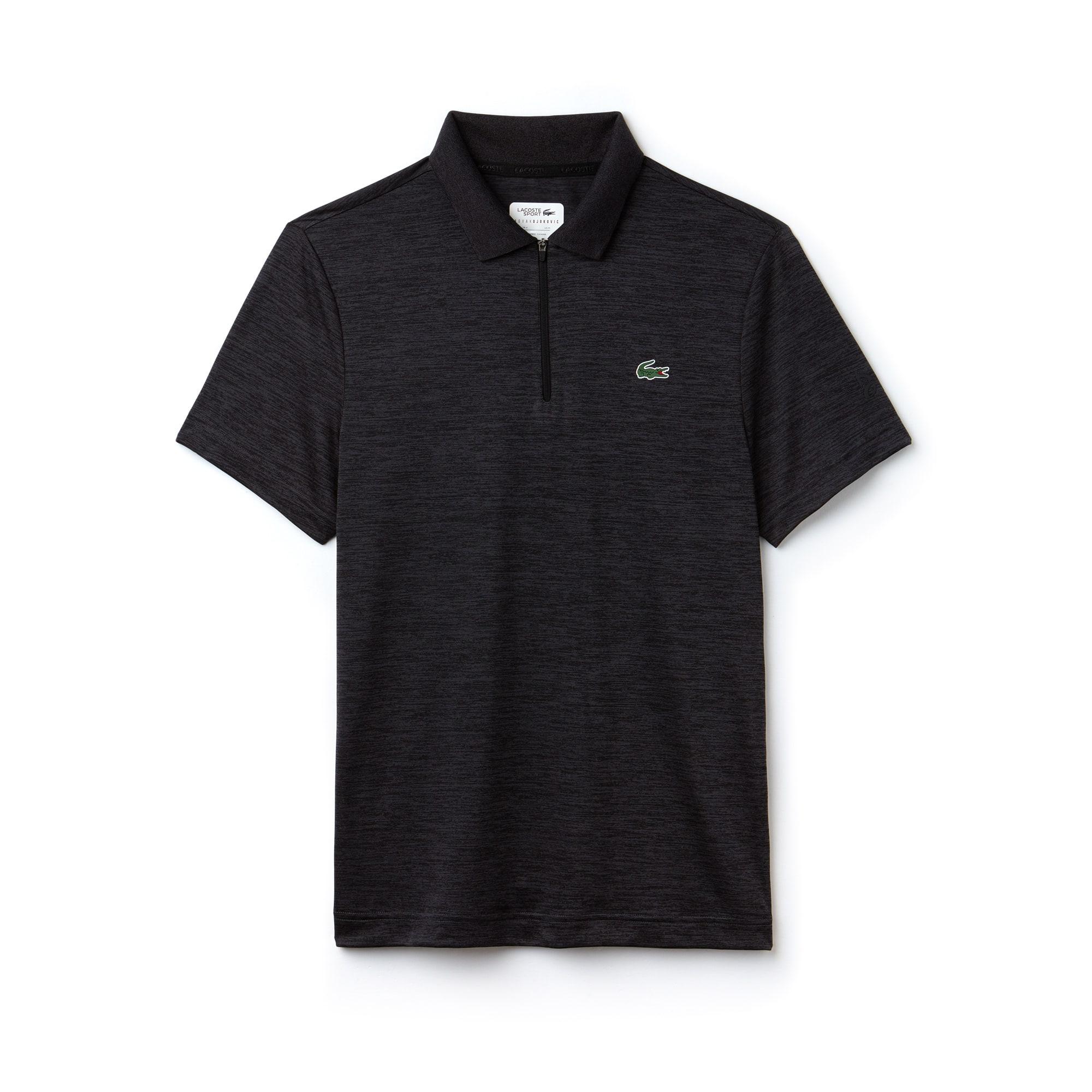 라코스테 스포츠 반팔 카라티 Lacoste Mens SPORT Flecked Technical Jersey Polo - x Novak Djokovic Off Court Premium Edition,black/black