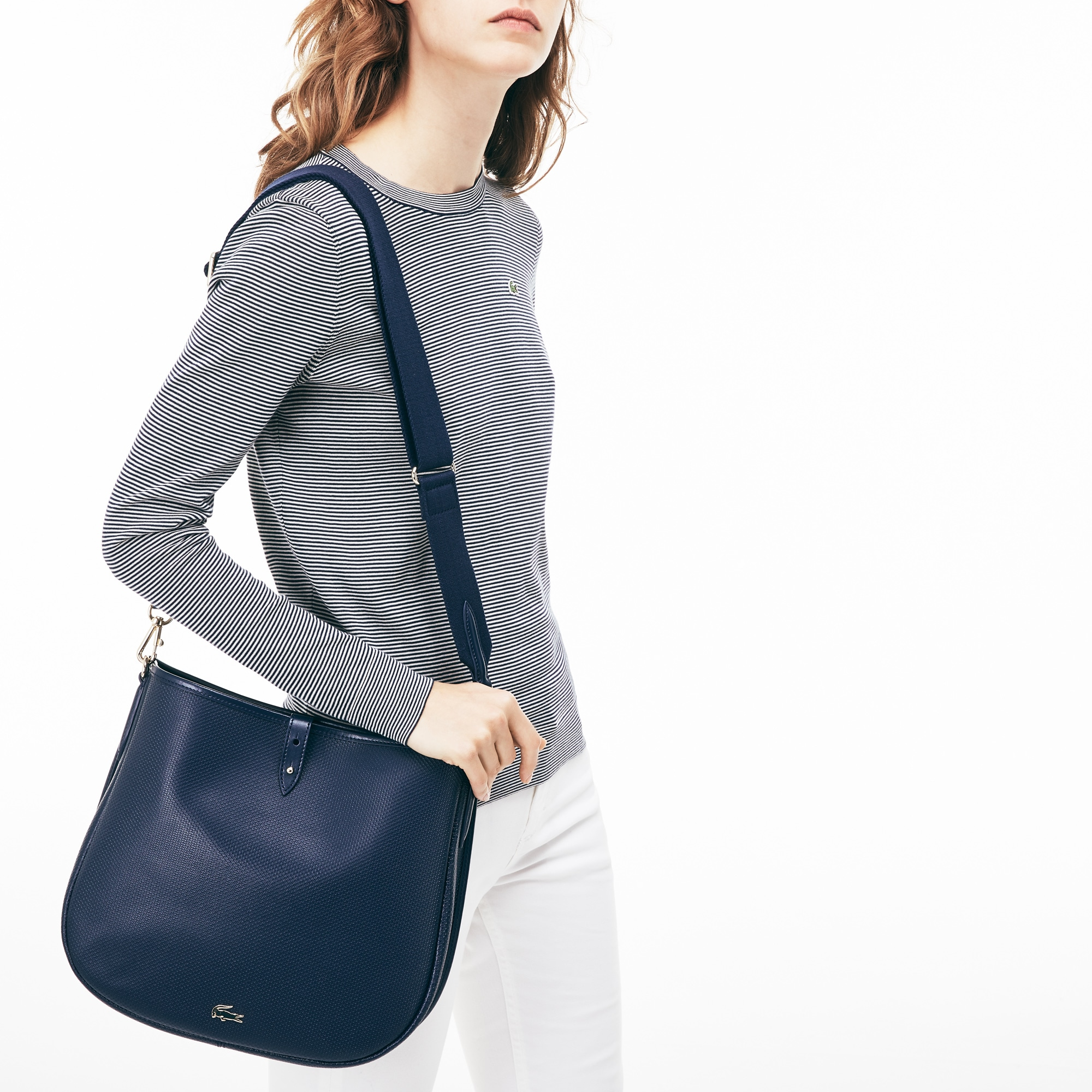 Lacoste WOMEN'S CHANTACO PIQUÉ LEATHER HOBO BAG
