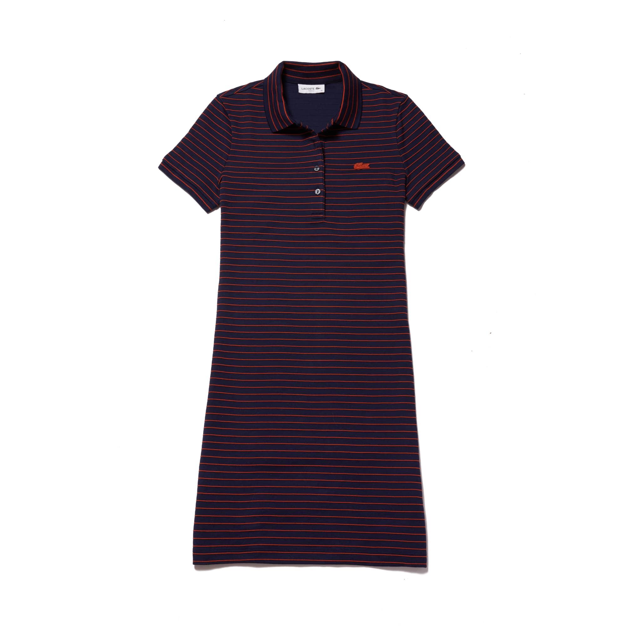 Women's Slim Fit Striped Stretch Mini Cotton Piqué Polo Dress