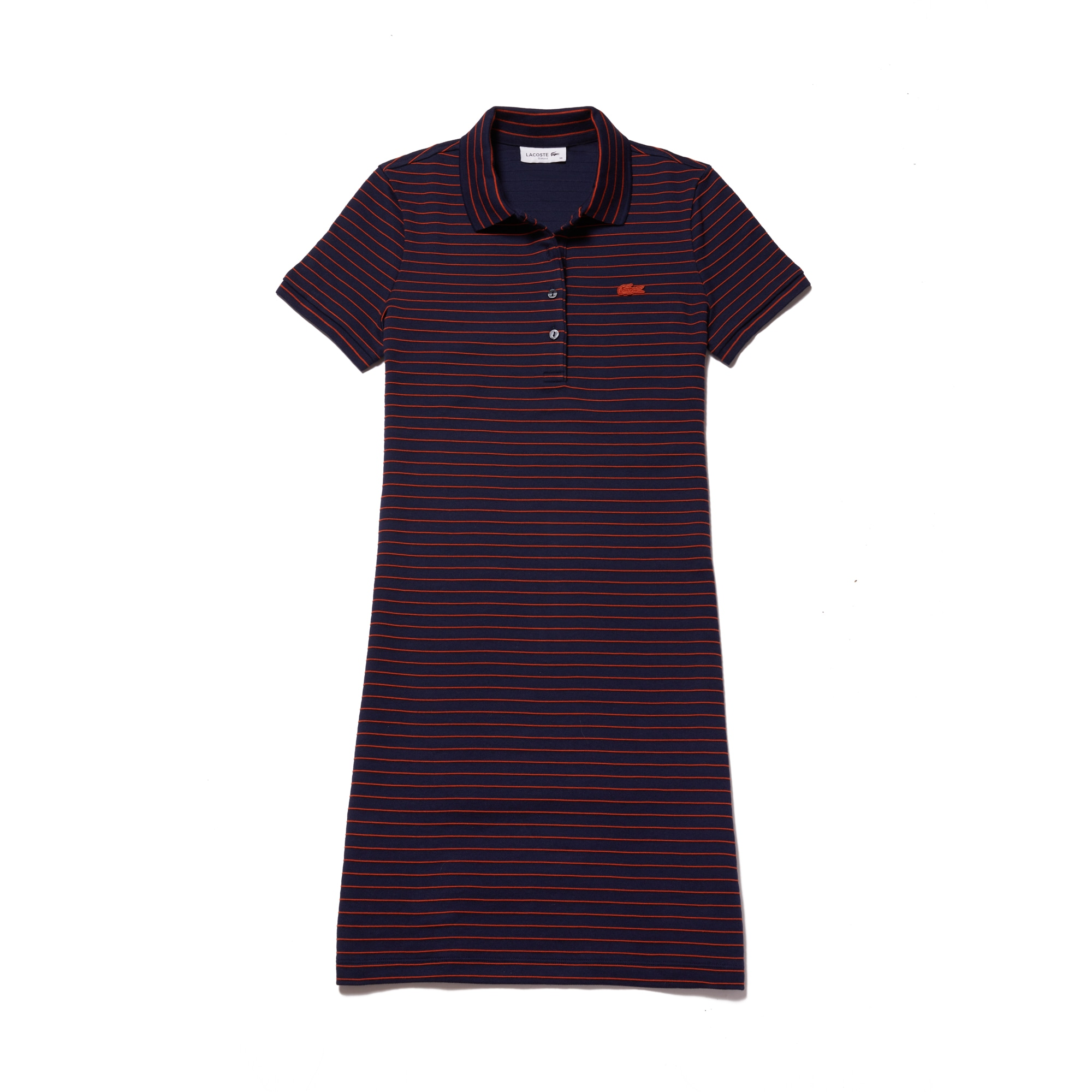 라코스테 Lacoste Womens Slim Fit Striped Stretch Mini Cotton Pique Polo Dress,navy blue / orange