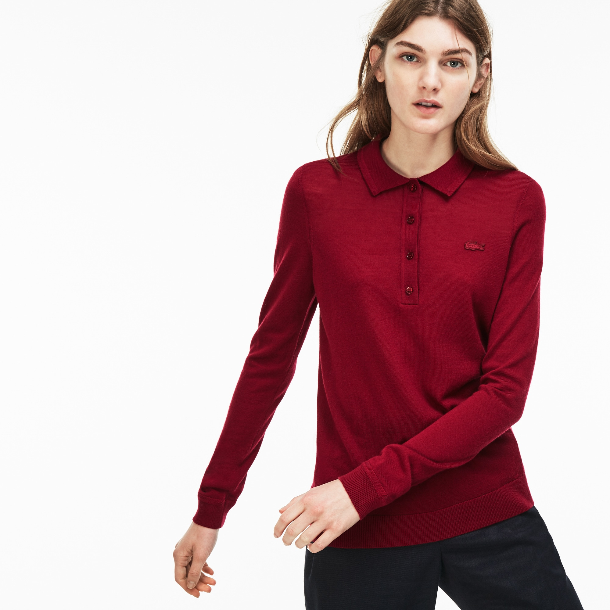 Women's  Wool Jersey Polo