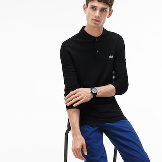 라코스테 Lacoste Mens Slim Fit Petit Pique Polo Shirt,Black - 031 (Selected colour)