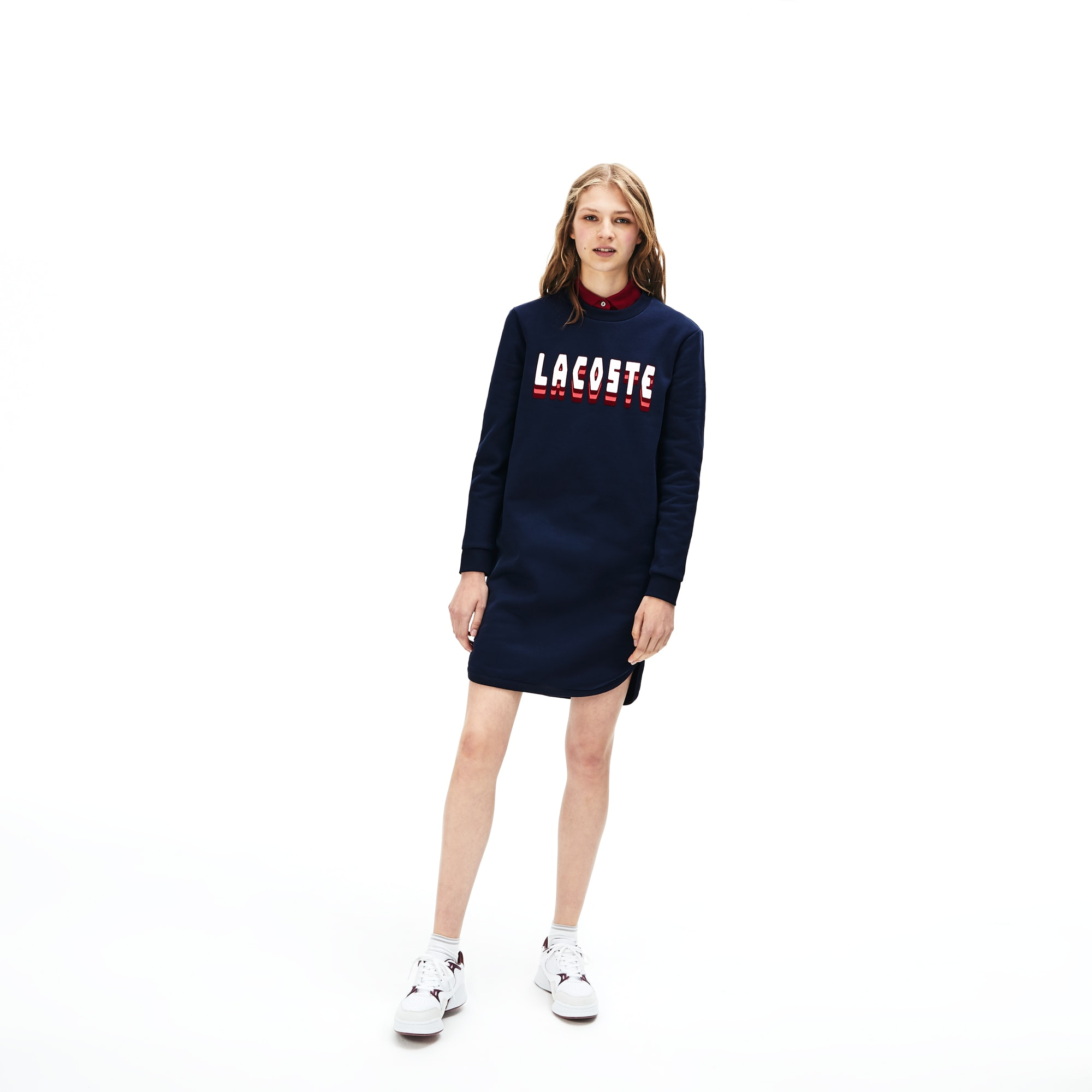 Women's 3D-Lettering Fleece Sweatshirt Dress