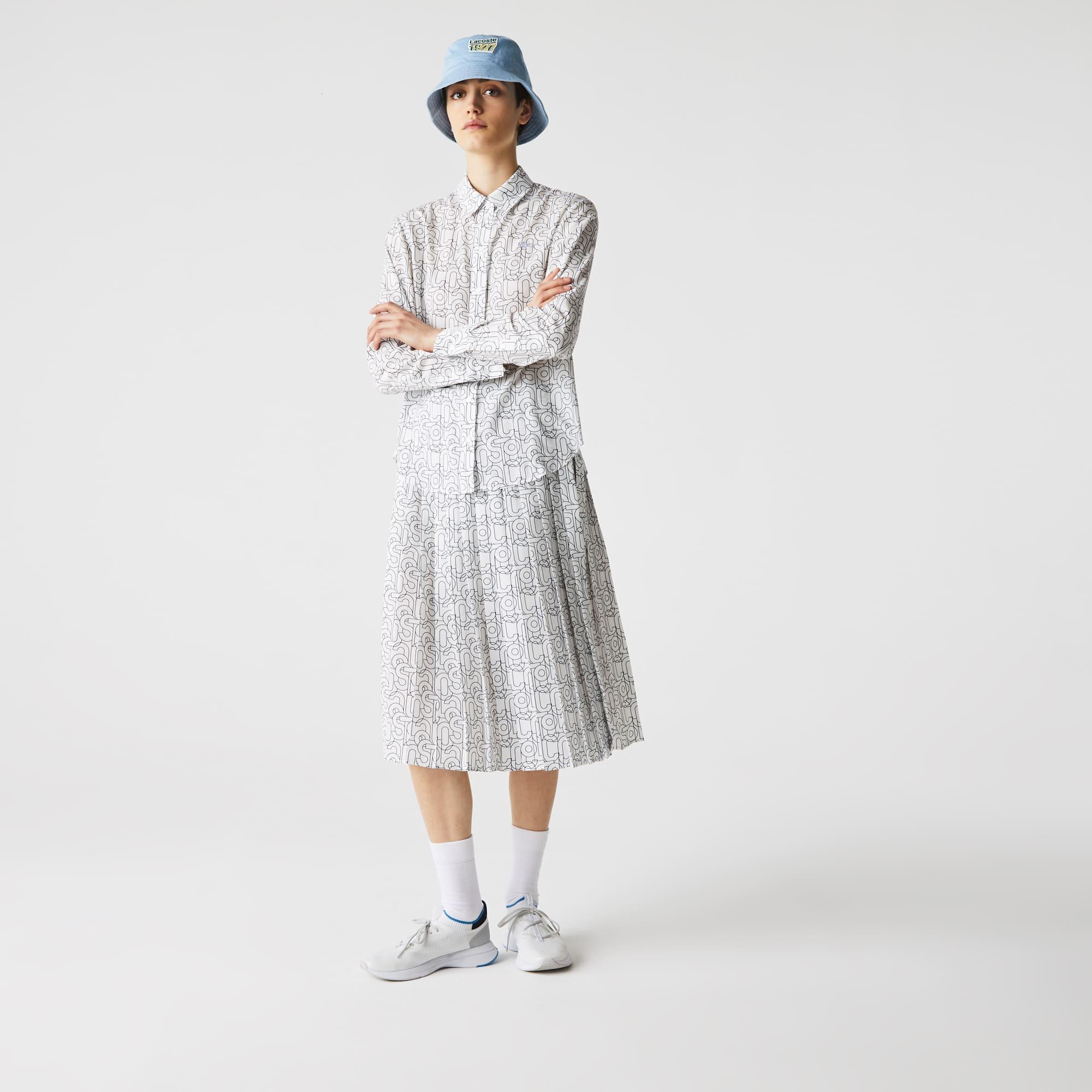 라코스테 우먼 셔츠 Women's Lacoste Print Relaxed Fit Flowy Shirt,White / Navy Blue EZ6